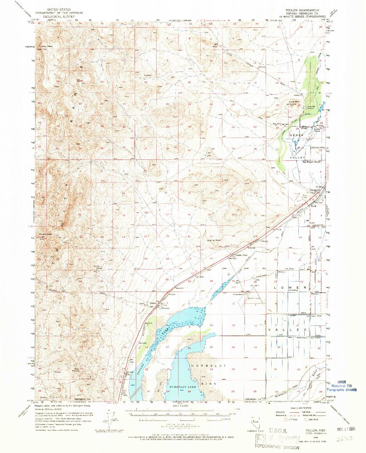 USGS 1:62500-SCALE QUADRANGLE FOR TOULON, NV 1956