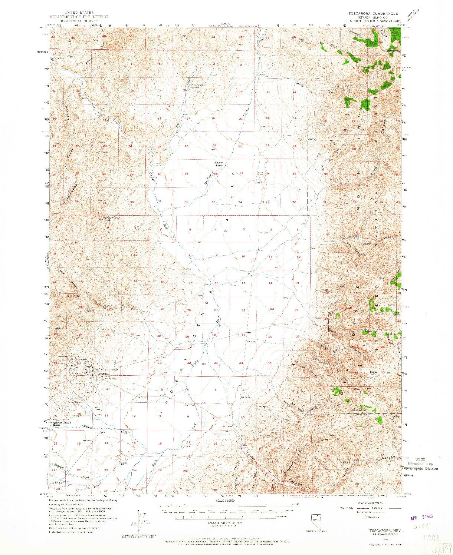 USGS 1:62500-SCALE QUADRANGLE FOR TUSCARORA, NV 1956
