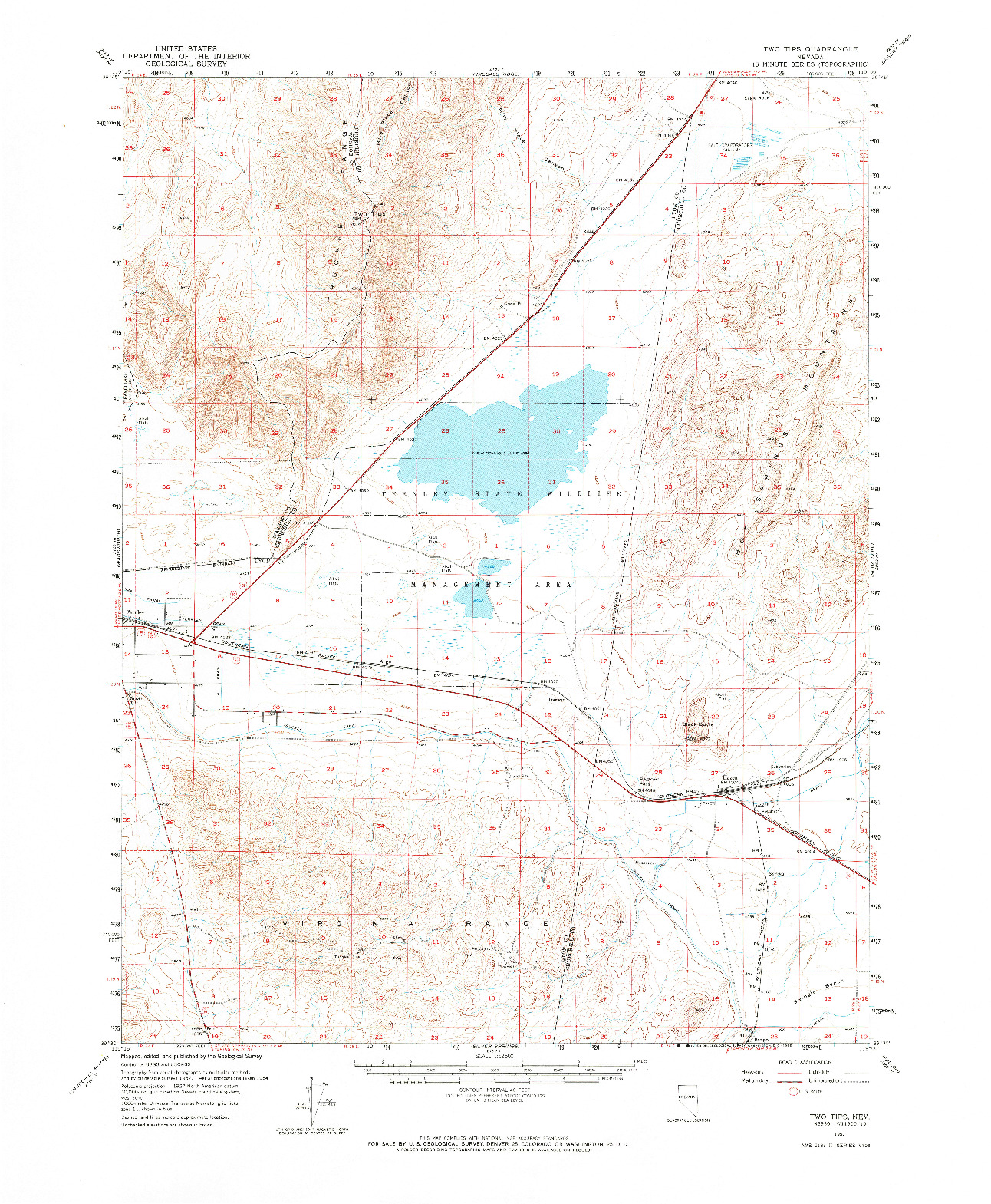 USGS 1:62500-SCALE QUADRANGLE FOR TWO TIPS, NV 1957