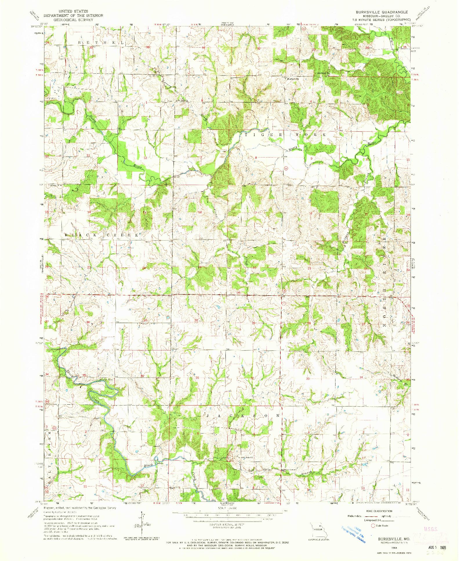 USGS 1:24000-SCALE QUADRANGLE FOR BURKSVILLE, MO 1964
