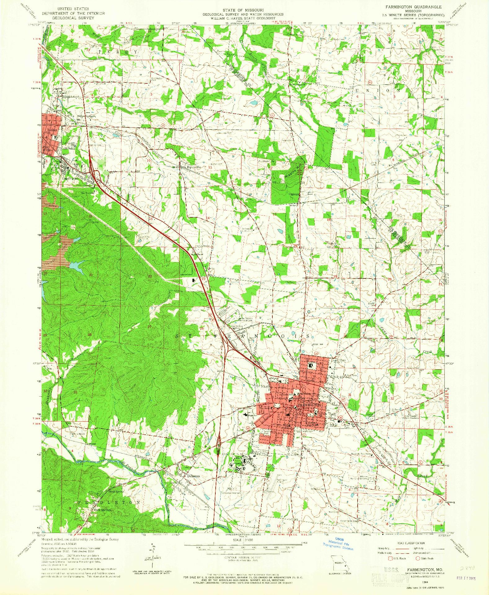 USGS 1:24000-SCALE QUADRANGLE FOR FARMINGTON, MO 1964