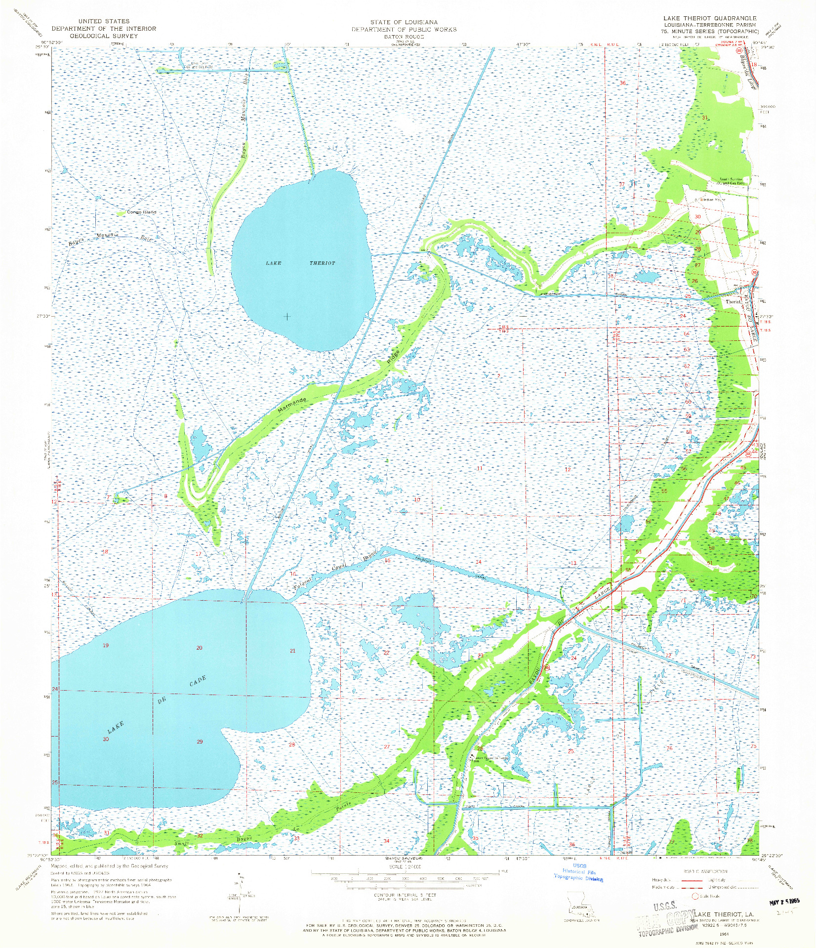 USGS 1:24000-SCALE QUADRANGLE FOR LAKE THERIOT, LA 1964