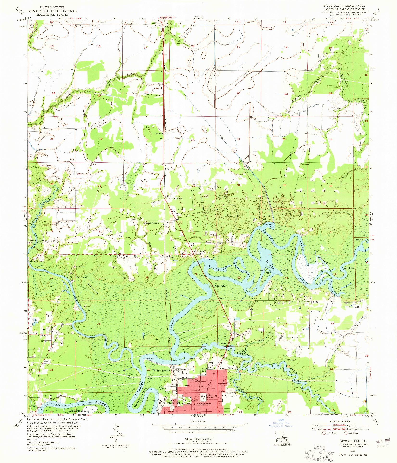 USGS 1:24000-SCALE QUADRANGLE FOR MOSS BLUFF, LA 1955