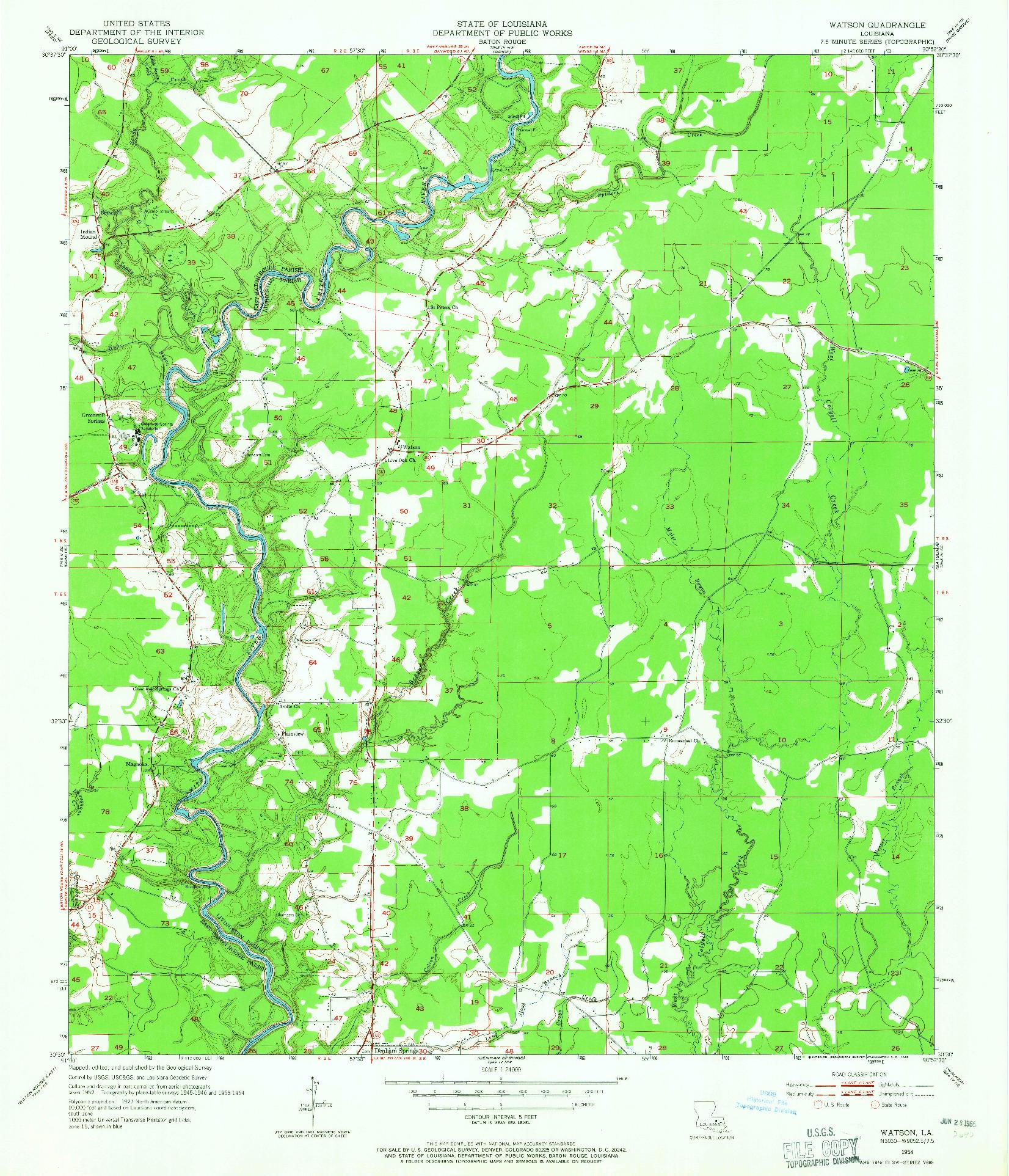 USGS 1:24000-SCALE QUADRANGLE FOR WATSON, LA 1954