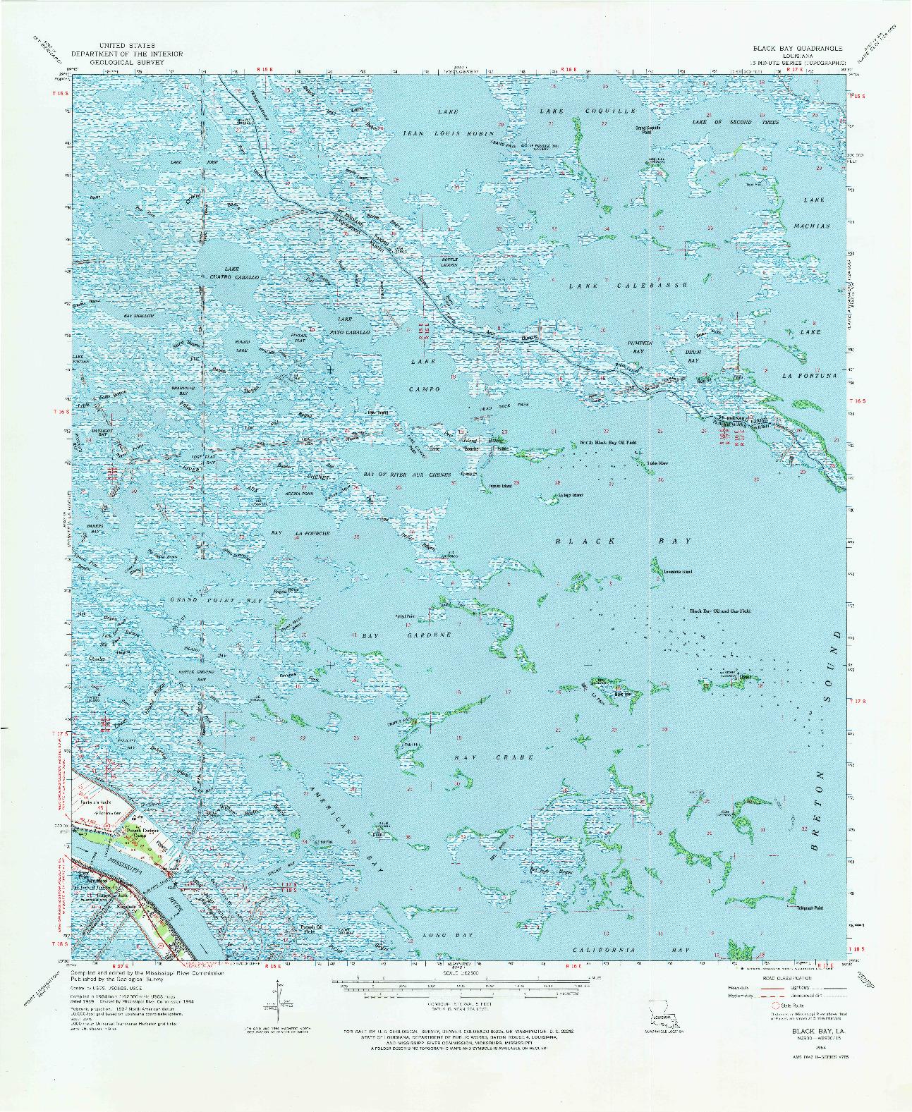 USGS 1:62500-SCALE QUADRANGLE FOR BLACK BAY, LA 1964