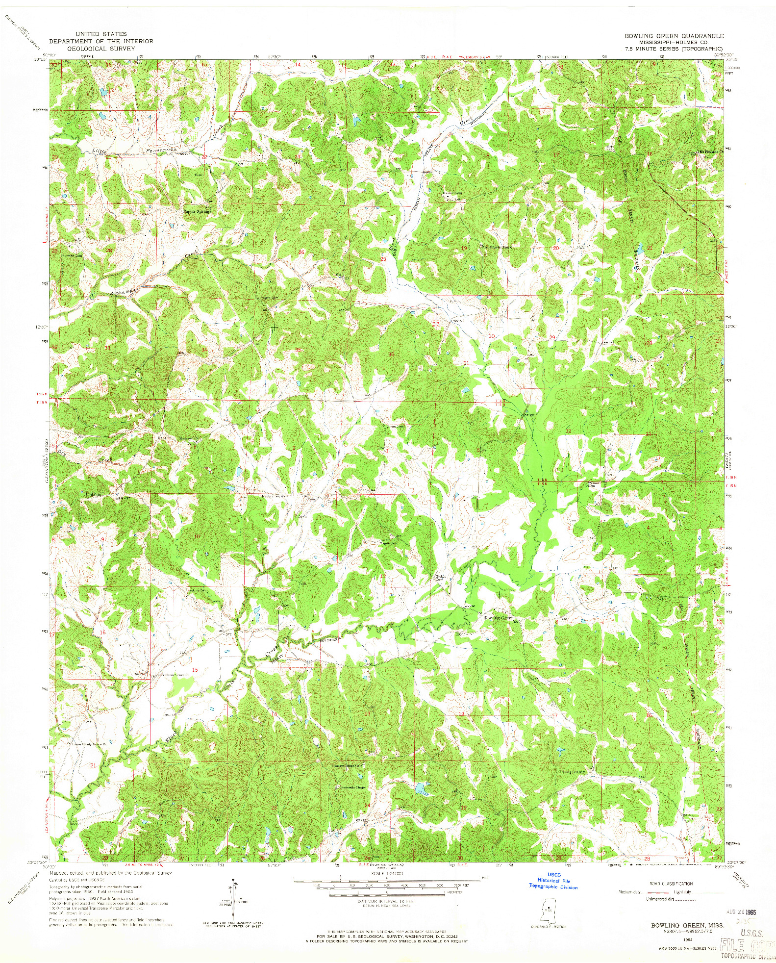 USGS 1:24000-SCALE QUADRANGLE FOR BOWLING GREEN, MS 1964