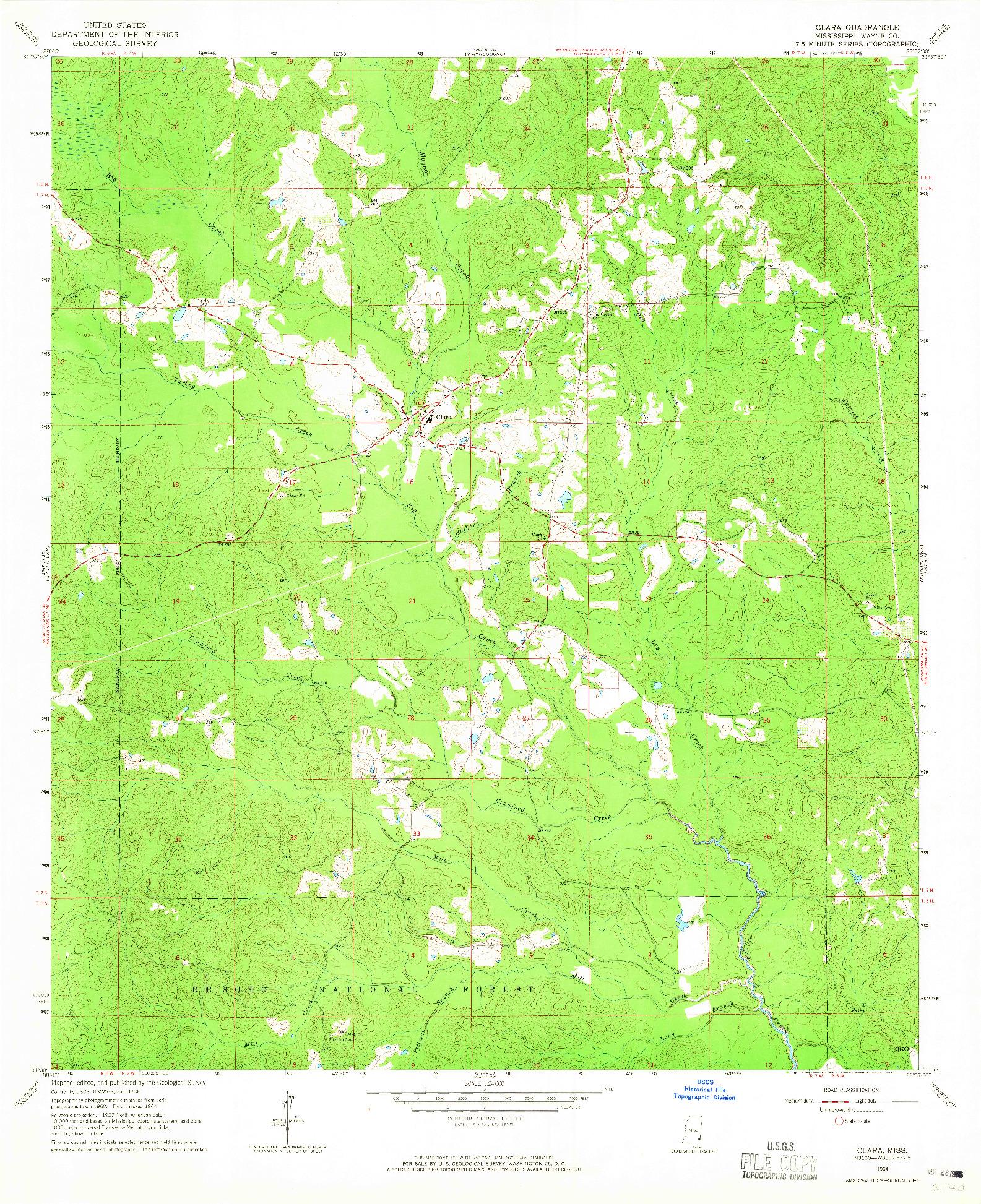 USGS 1:24000-SCALE QUADRANGLE FOR CLARA, MS 1964