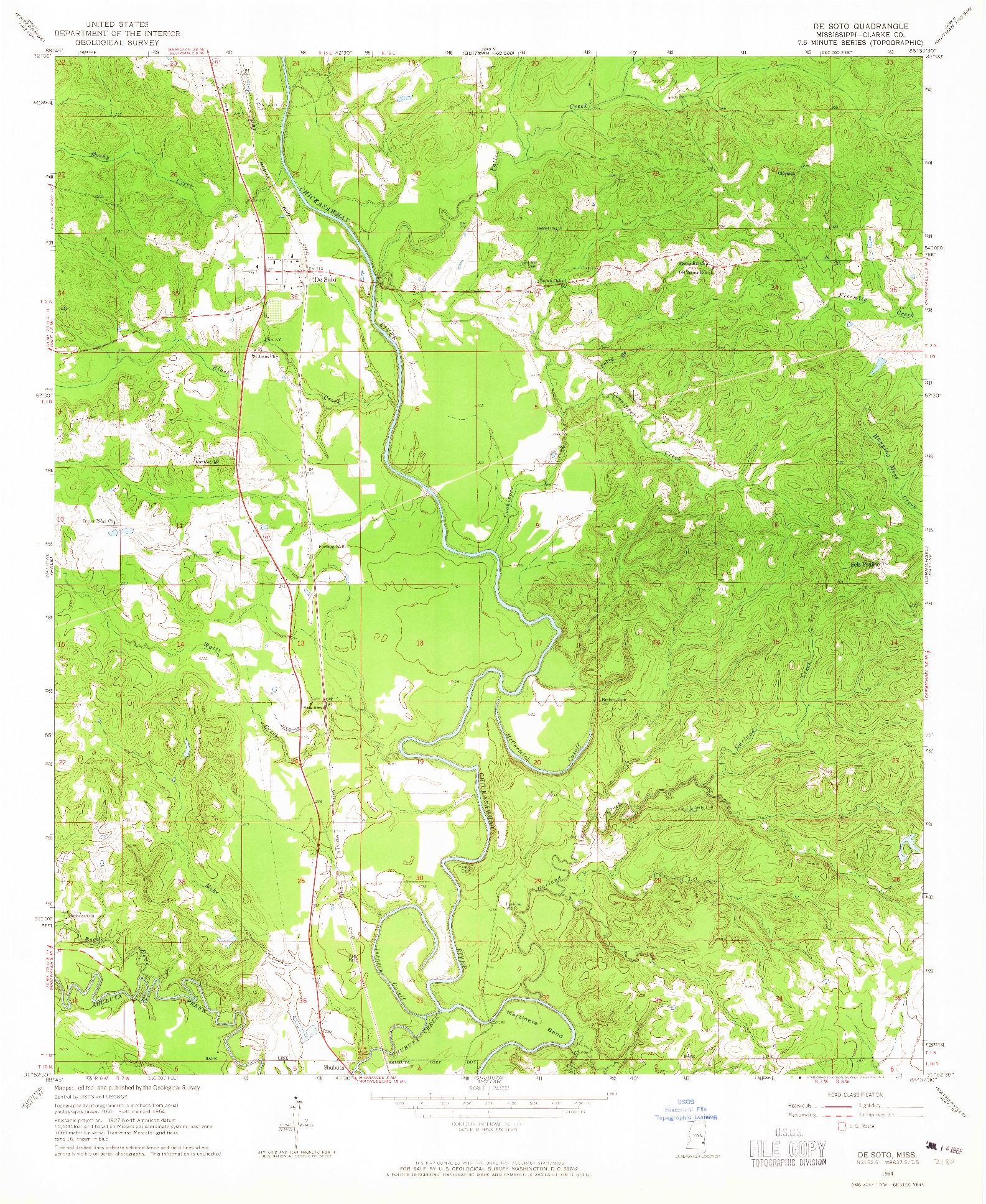 USGS 1:24000-SCALE QUADRANGLE FOR DE SOTO, MS 1964