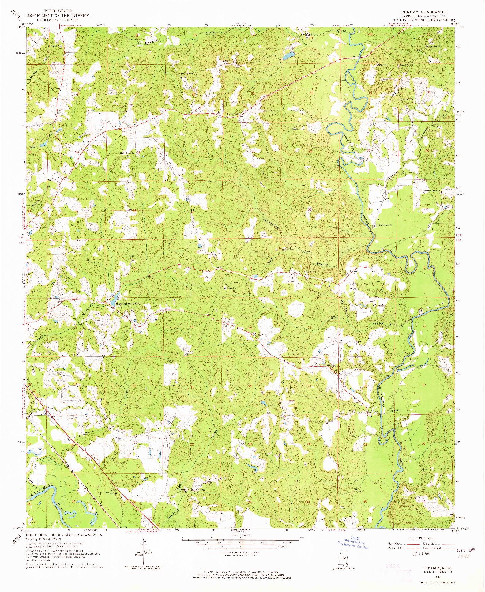 USGS 1:24000-SCALE QUADRANGLE FOR DENHAM, MS 1964