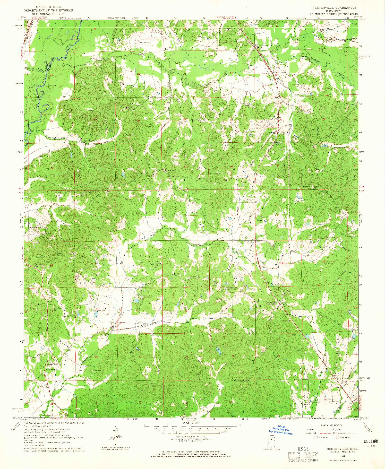 USGS 1:24000-SCALE QUADRANGLE FOR HESTERVILLE, MS 1964