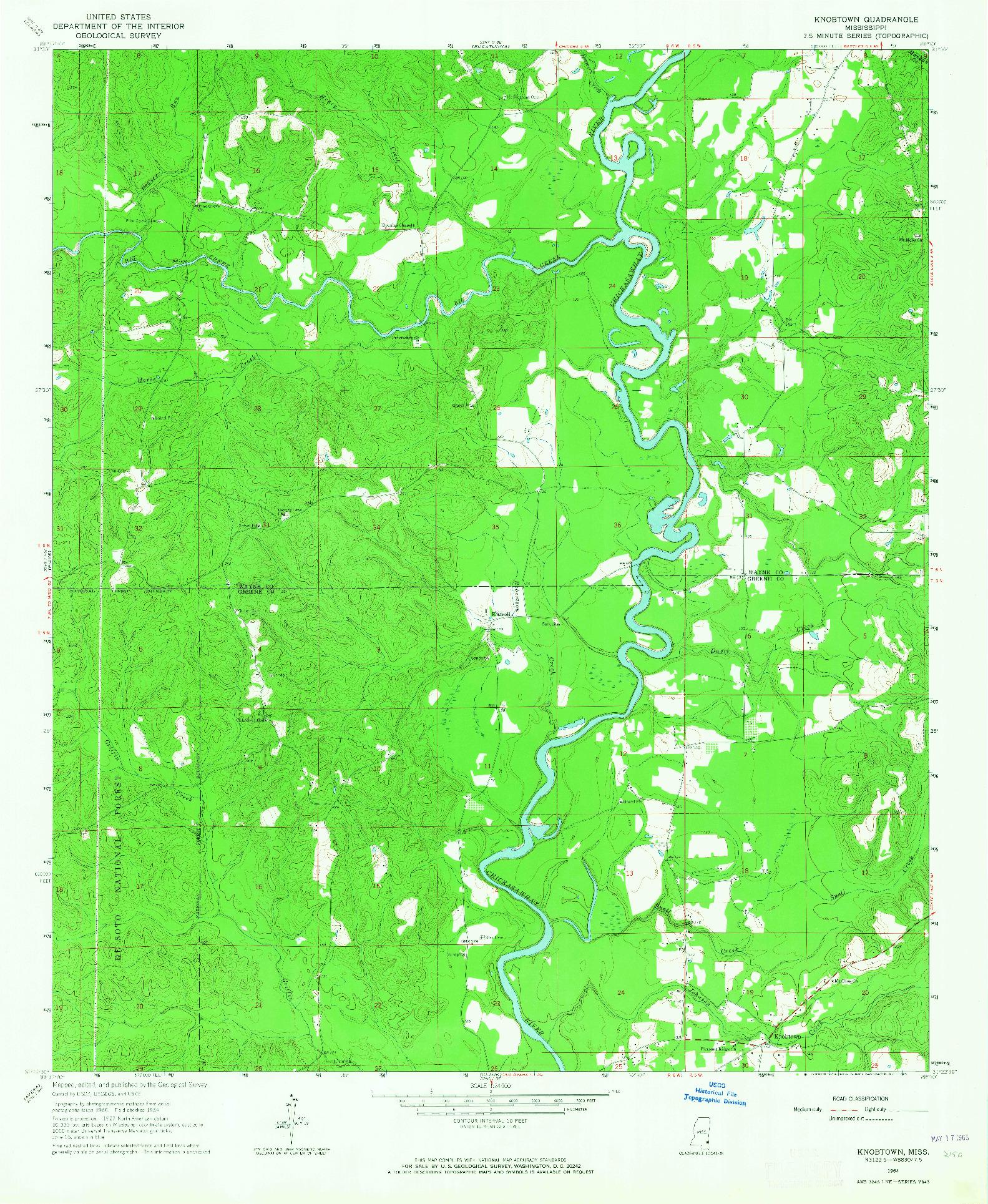 USGS 1:24000-SCALE QUADRANGLE FOR KNOBTOWN, MS 1964