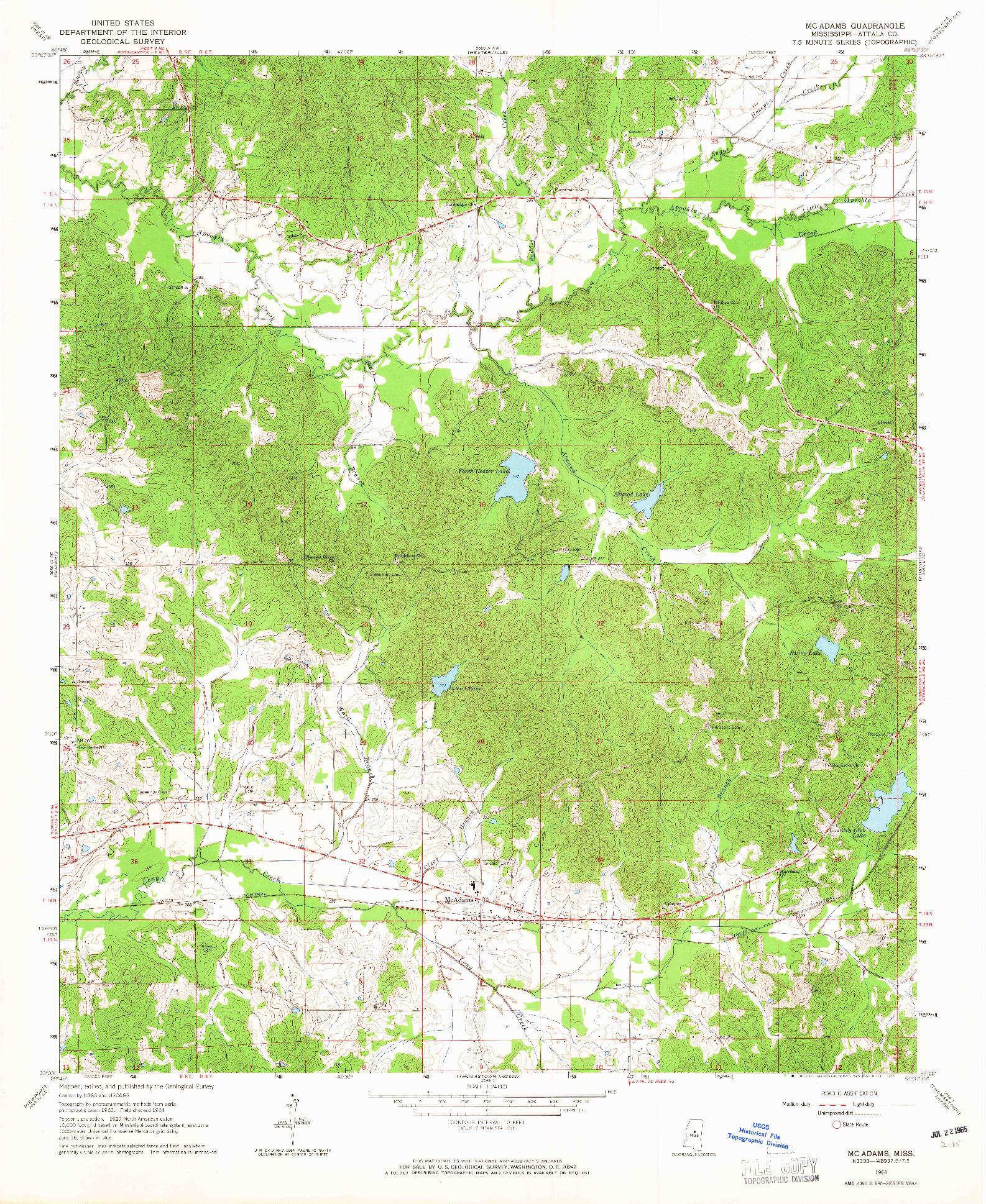 USGS 1:24000-SCALE QUADRANGLE FOR MCADAMS, MS 1964