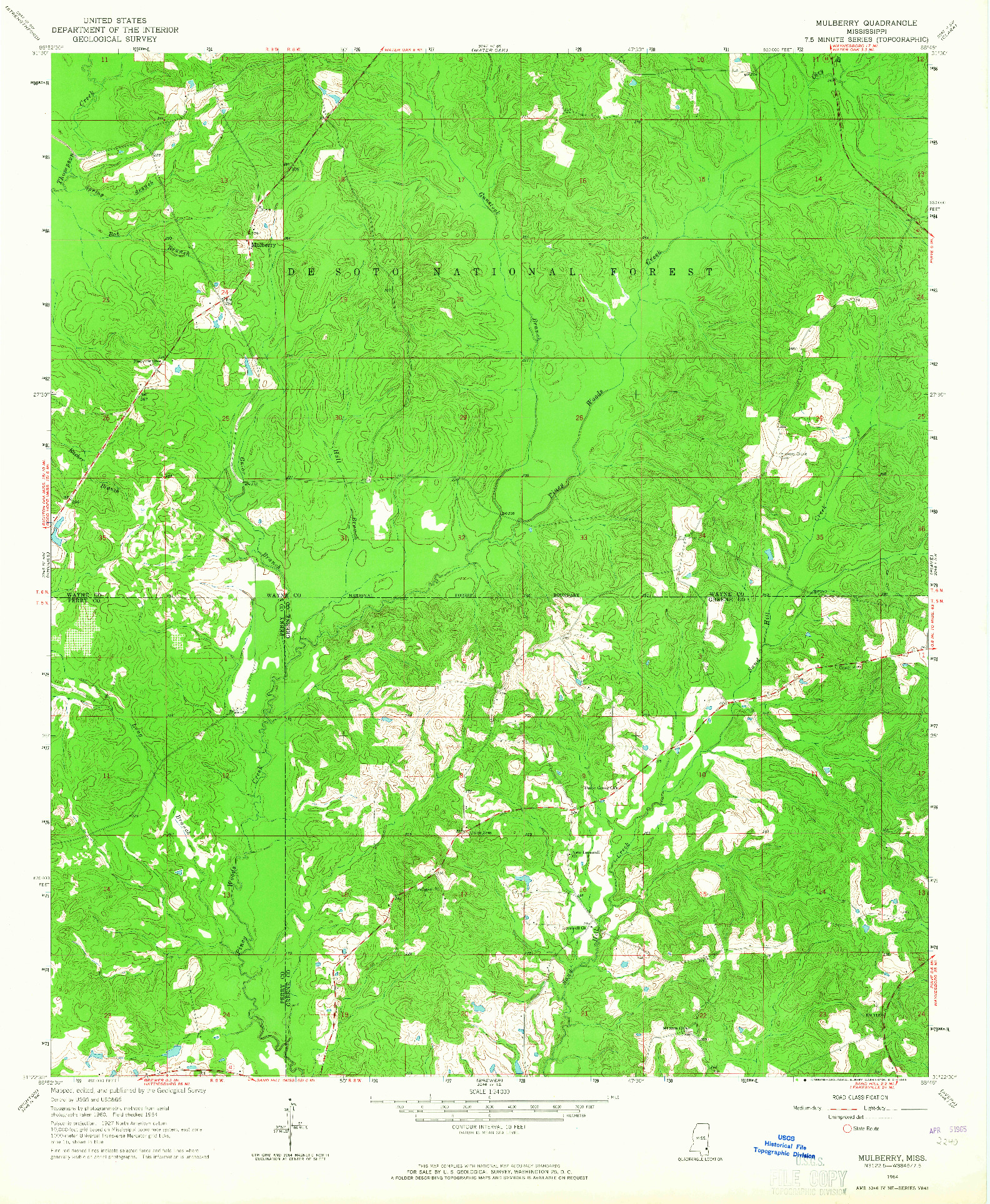 USGS 1:24000-SCALE QUADRANGLE FOR MULBERRY, MS 1964