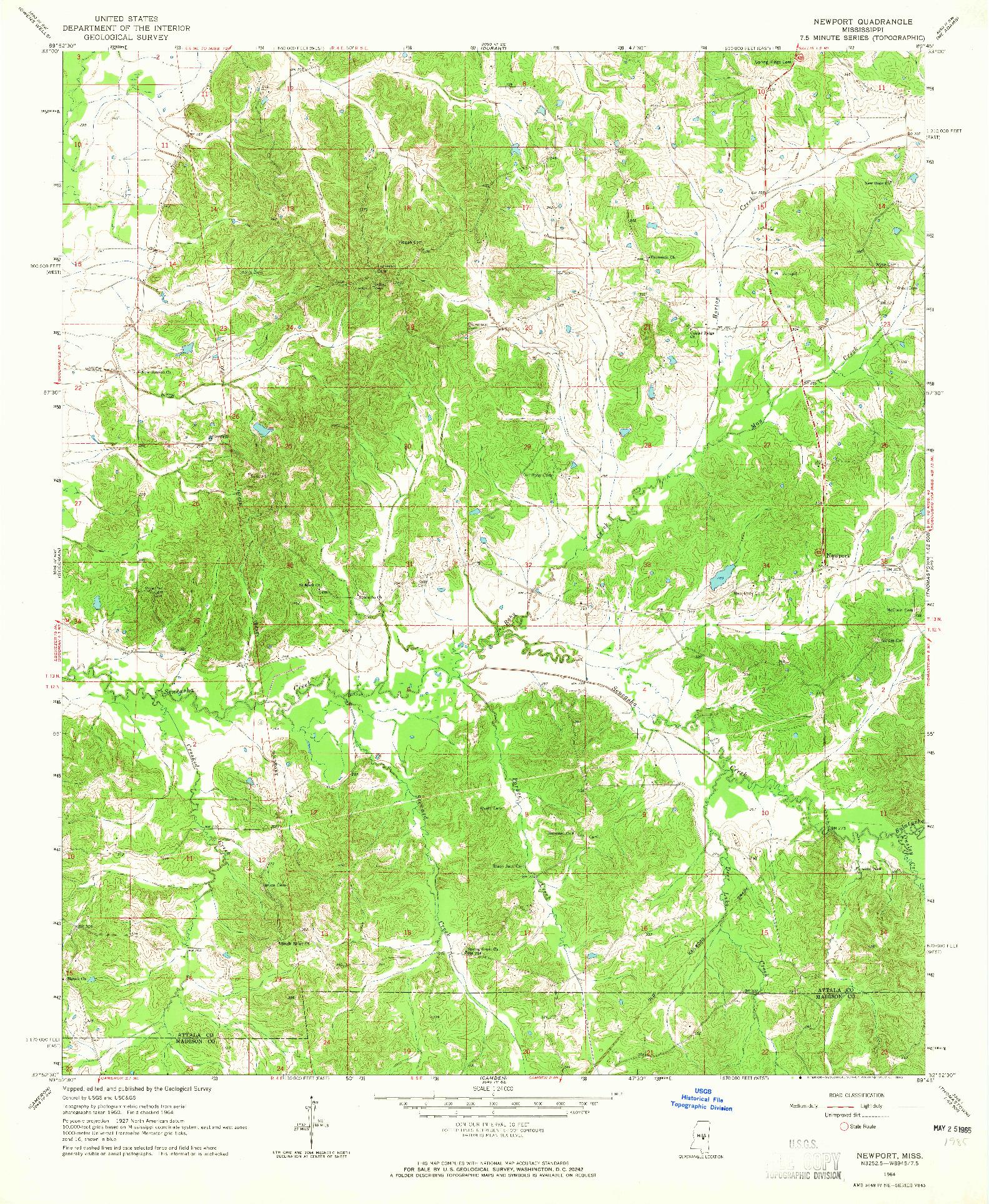 USGS 1:24000-SCALE QUADRANGLE FOR NEWPORT, MS 1964
