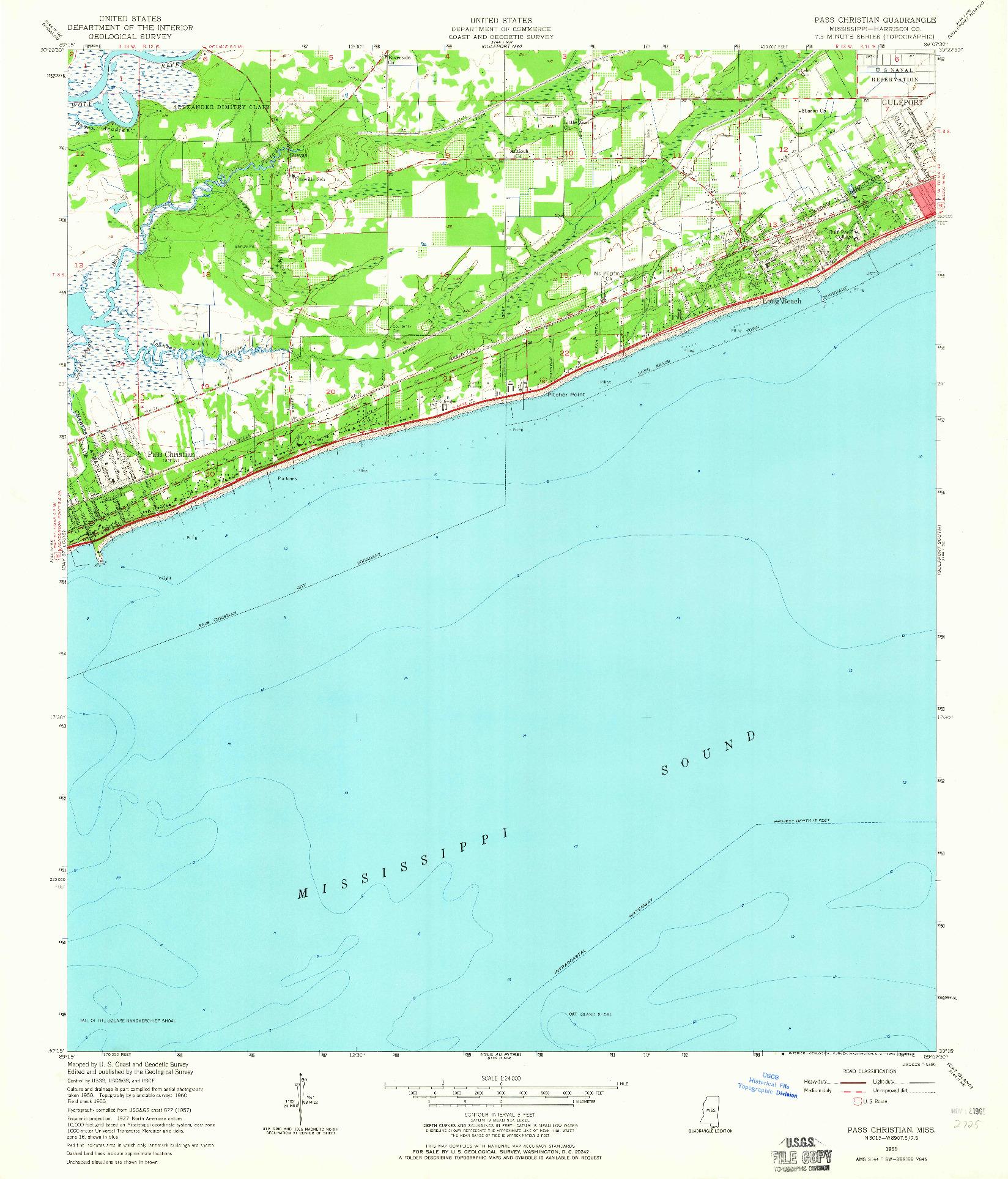 USGS 1:24000-SCALE QUADRANGLE FOR PASS CHRISTIAN, MS 1955