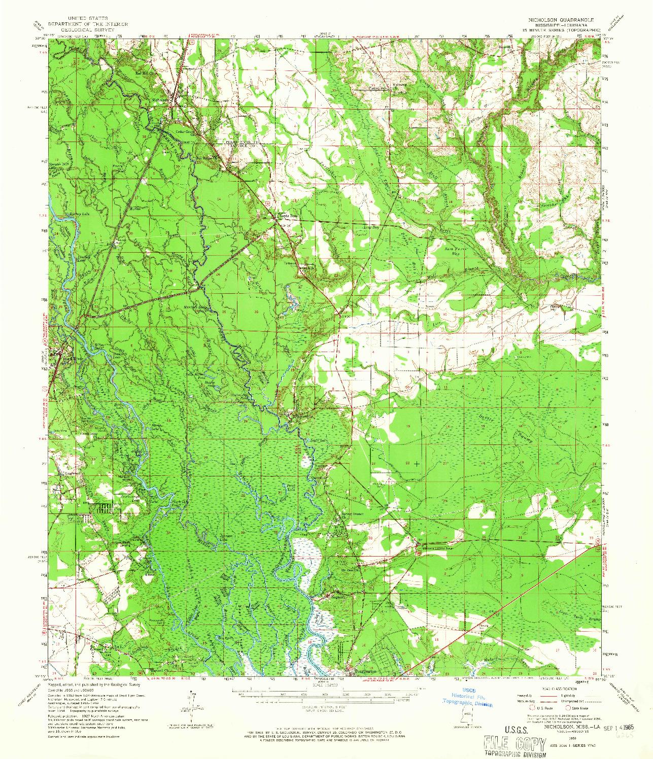 USGS 1:62500-SCALE QUADRANGLE FOR NICHOLSON, MS 1959