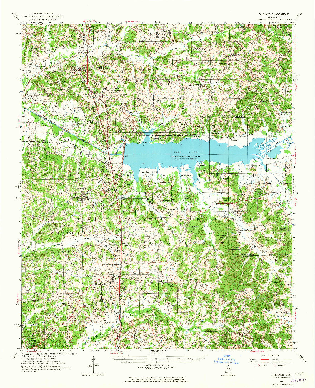 USGS 1:62500-SCALE QUADRANGLE FOR OAKLAND, MS 1954