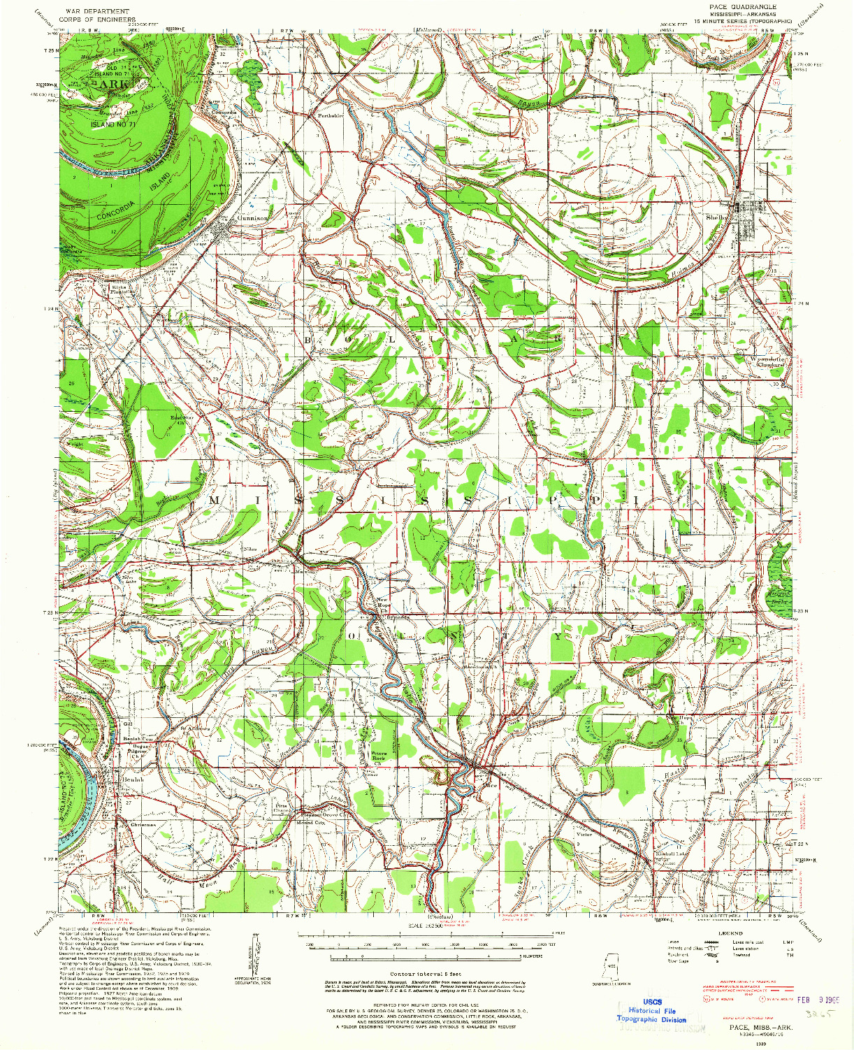 USGS 1:62500-SCALE QUADRANGLE FOR PACE, MS 1939