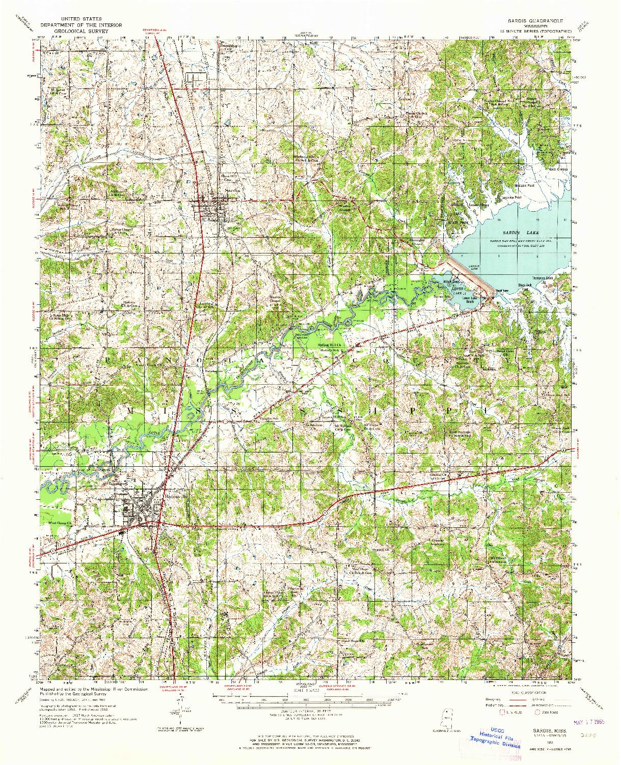 USGS 1:62500-SCALE QUADRANGLE FOR SARDIS, MS 1952