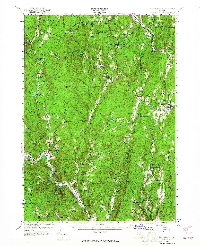 USGS 1:62500-SCALE QUADRANGLE FOR SAXTONS RIVER, VT 1957