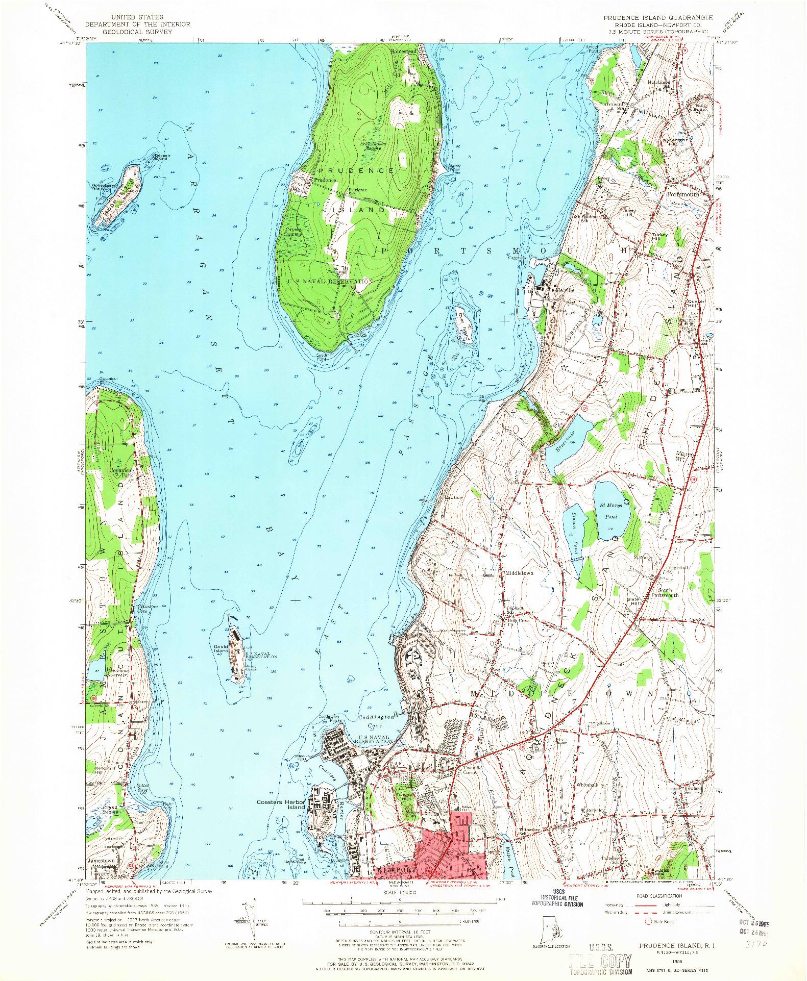 USGS 1:24000-SCALE QUADRANGLE FOR PRUDENCE ISLAND, RI 1955