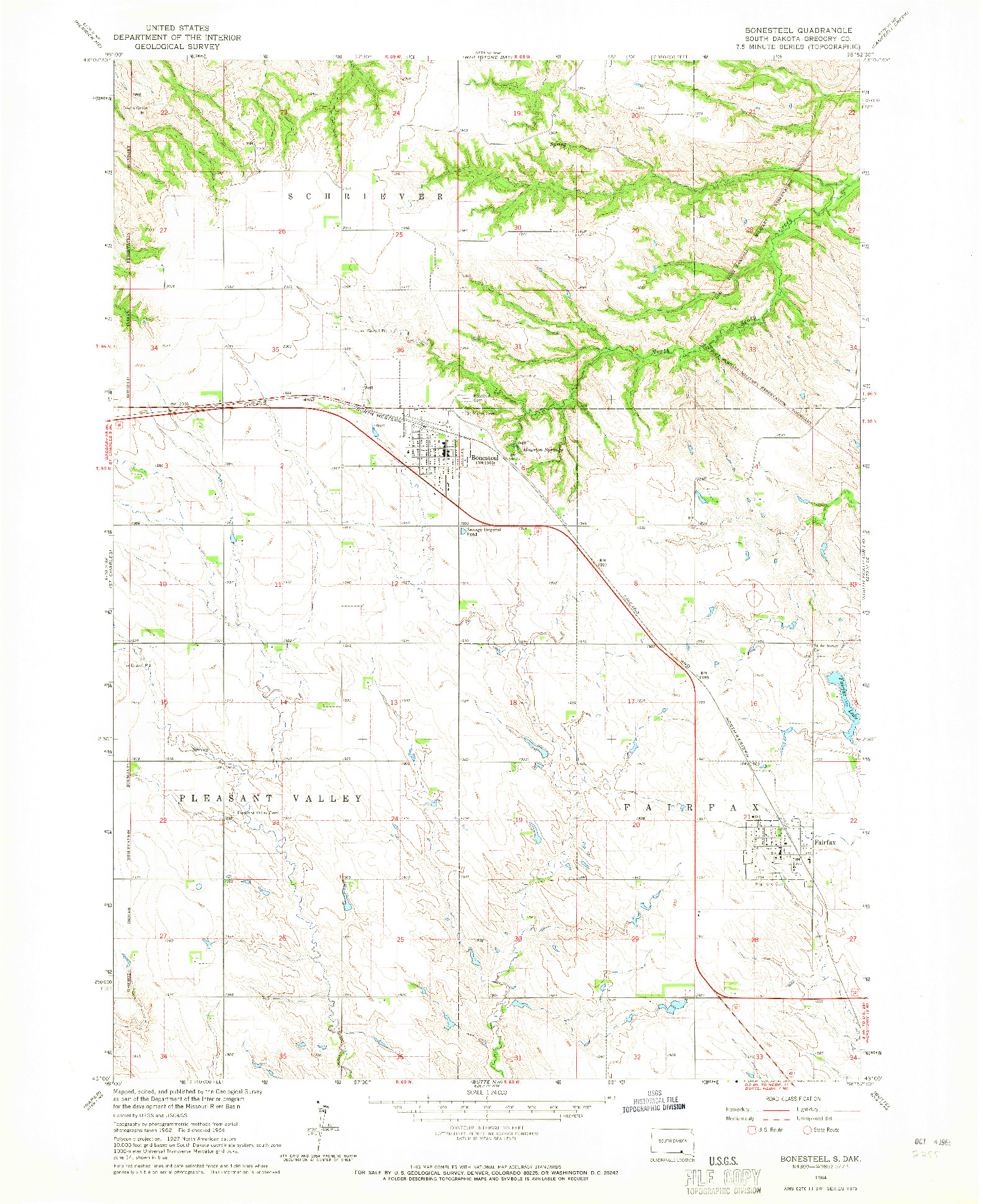 USGS 1:24000-SCALE QUADRANGLE FOR BONESTEEL, SD 1964