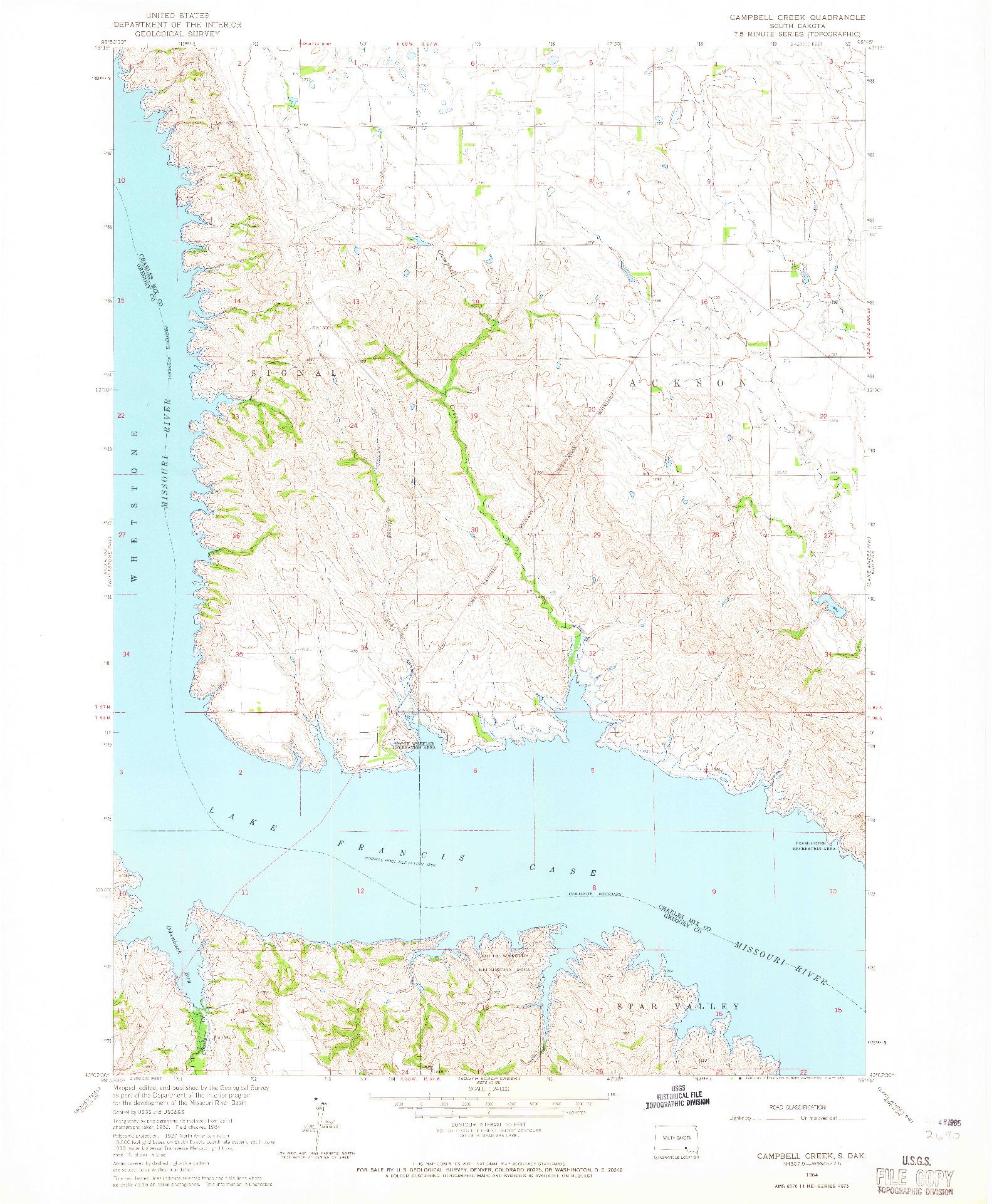 USGS 1:24000-SCALE QUADRANGLE FOR CAMPBELL CREEK, SD 1964
