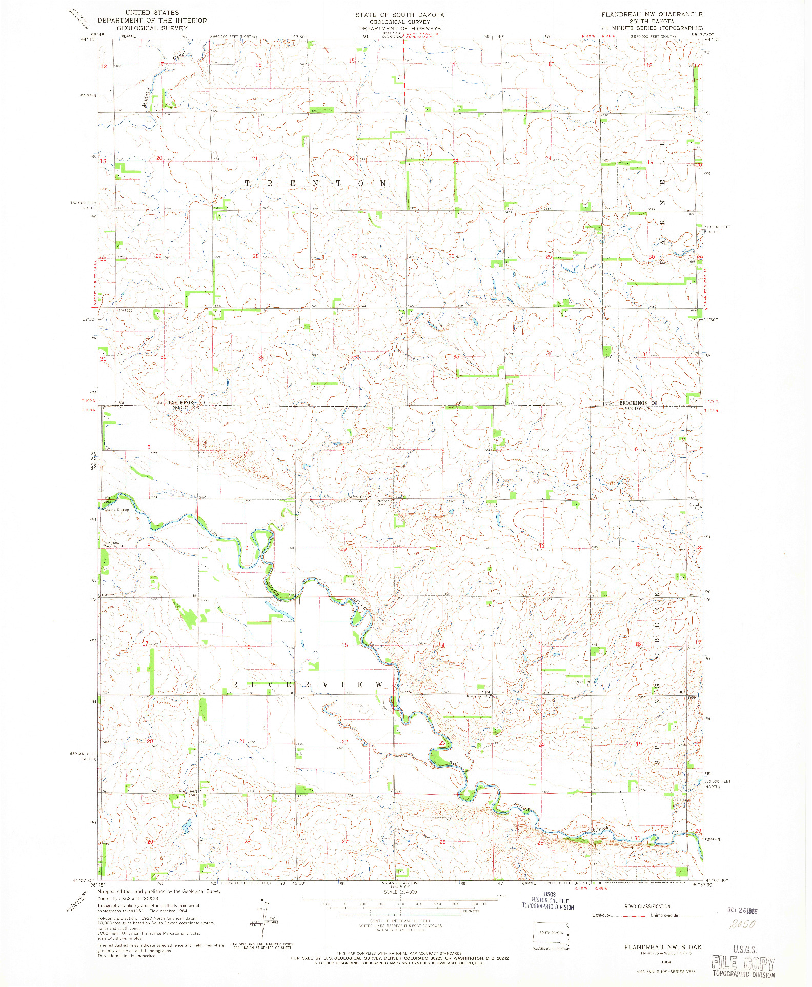 USGS 1:24000-SCALE QUADRANGLE FOR FLANDREAU NW, SD 1964