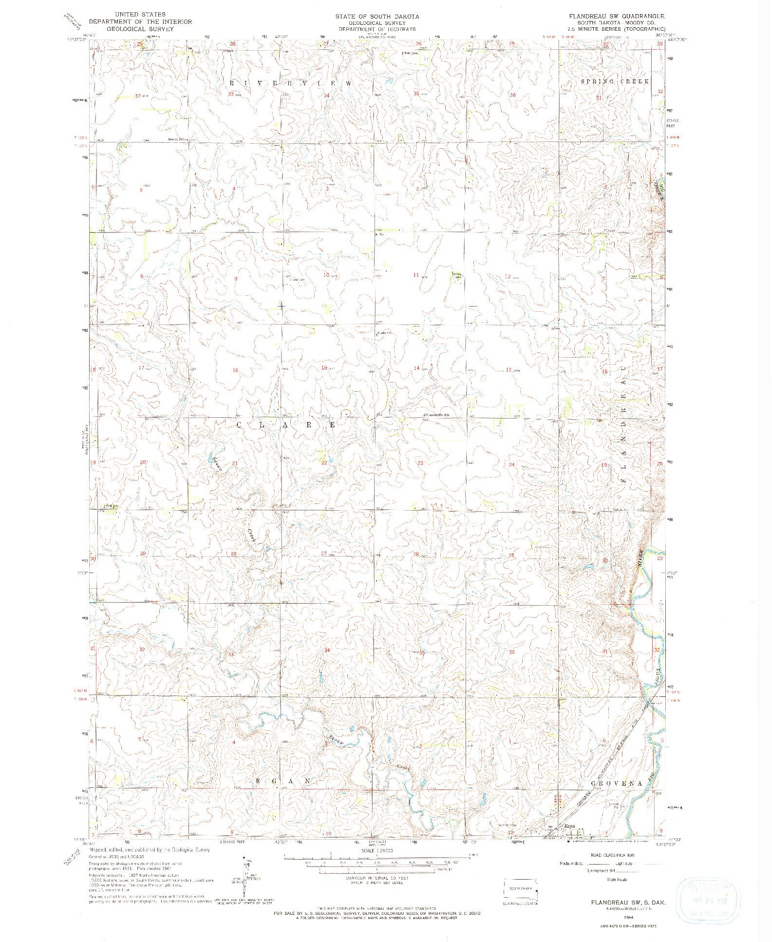USGS 1:24000-SCALE QUADRANGLE FOR FLANDREAU SW, SD 1964