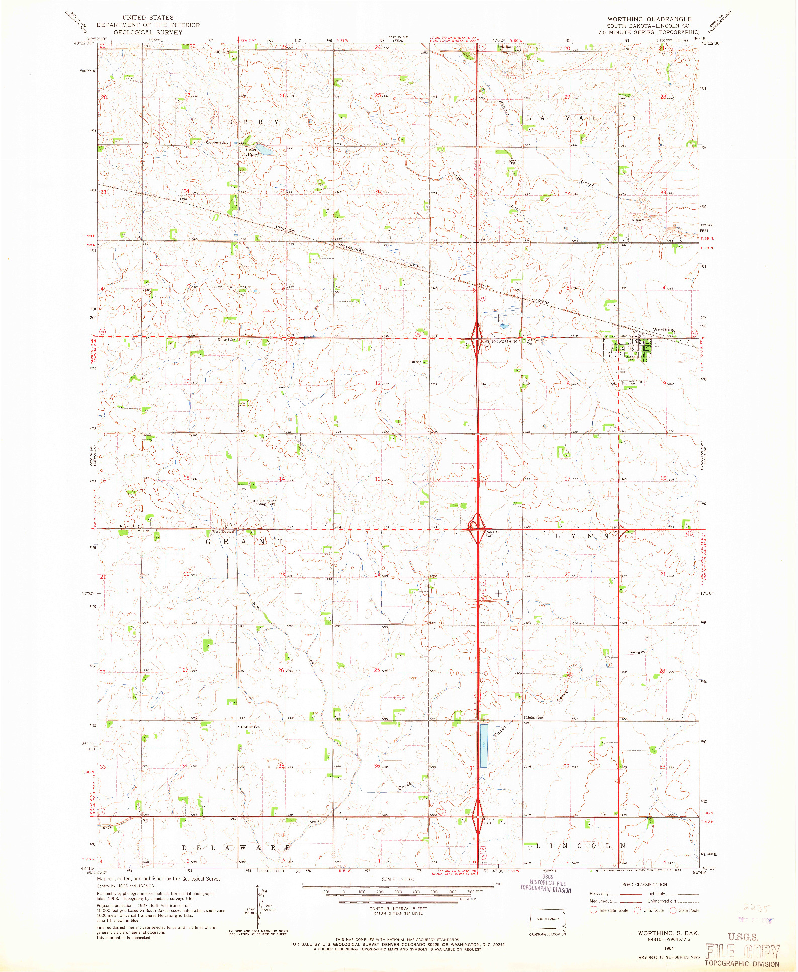 USGS 1:24000-SCALE QUADRANGLE FOR WORTHING, SD 1964