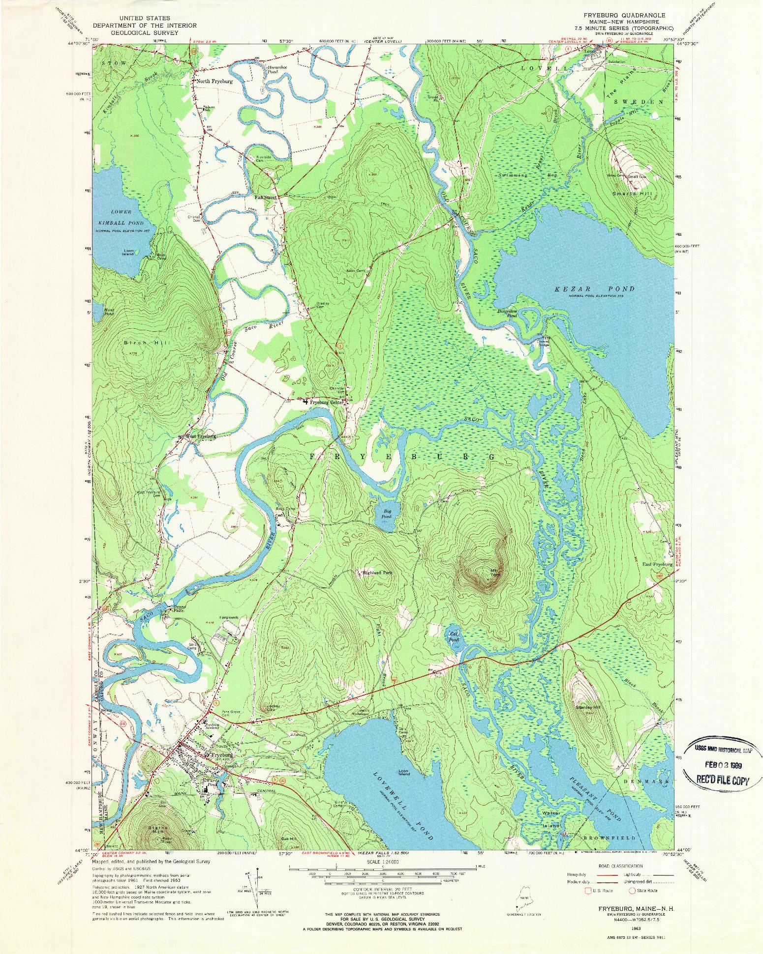 USGS 1:24000-SCALE QUADRANGLE FOR FRYEBURG, ME 1963