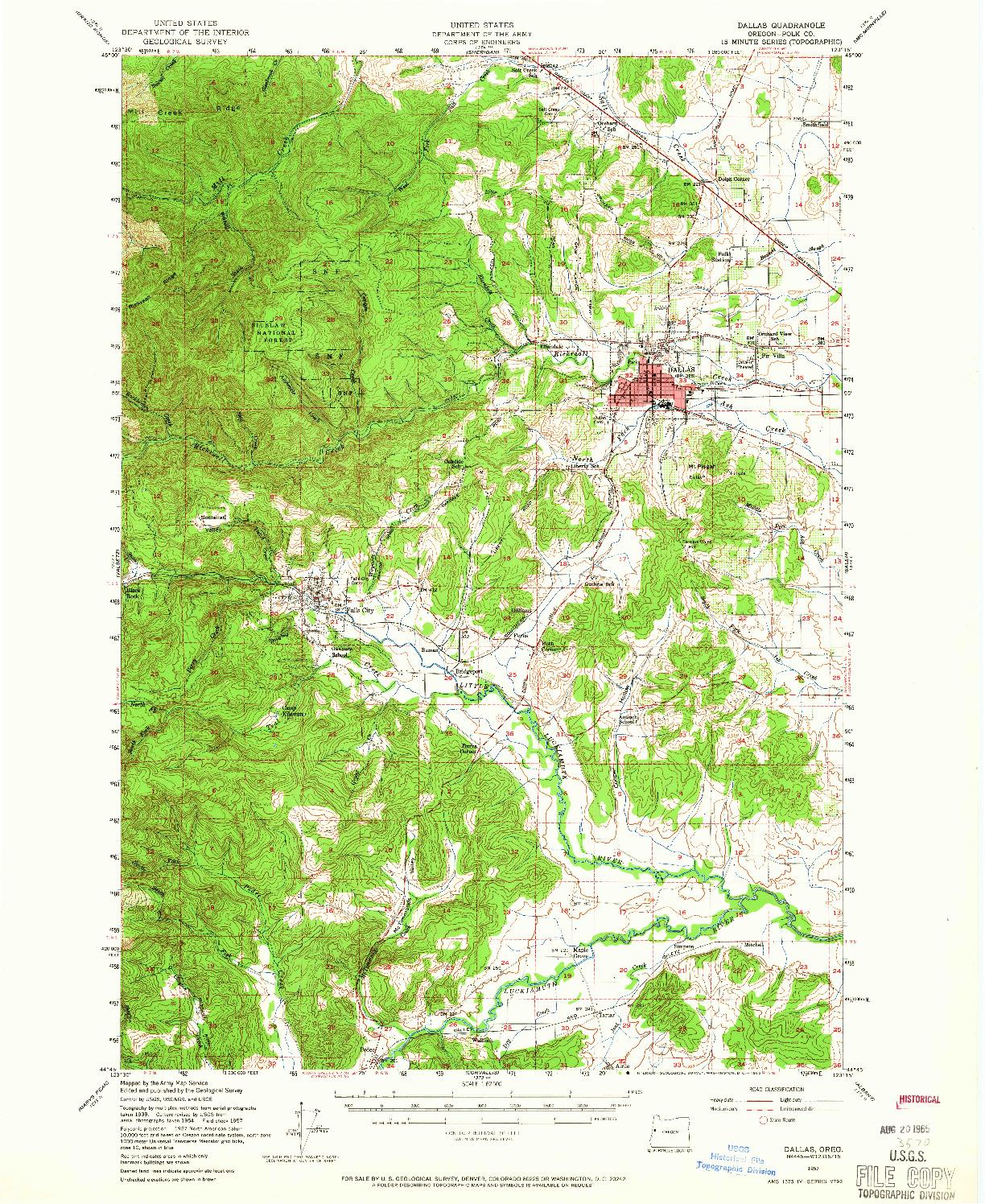 USGS 1:62500-SCALE QUADRANGLE FOR DALLAS, OR 1957