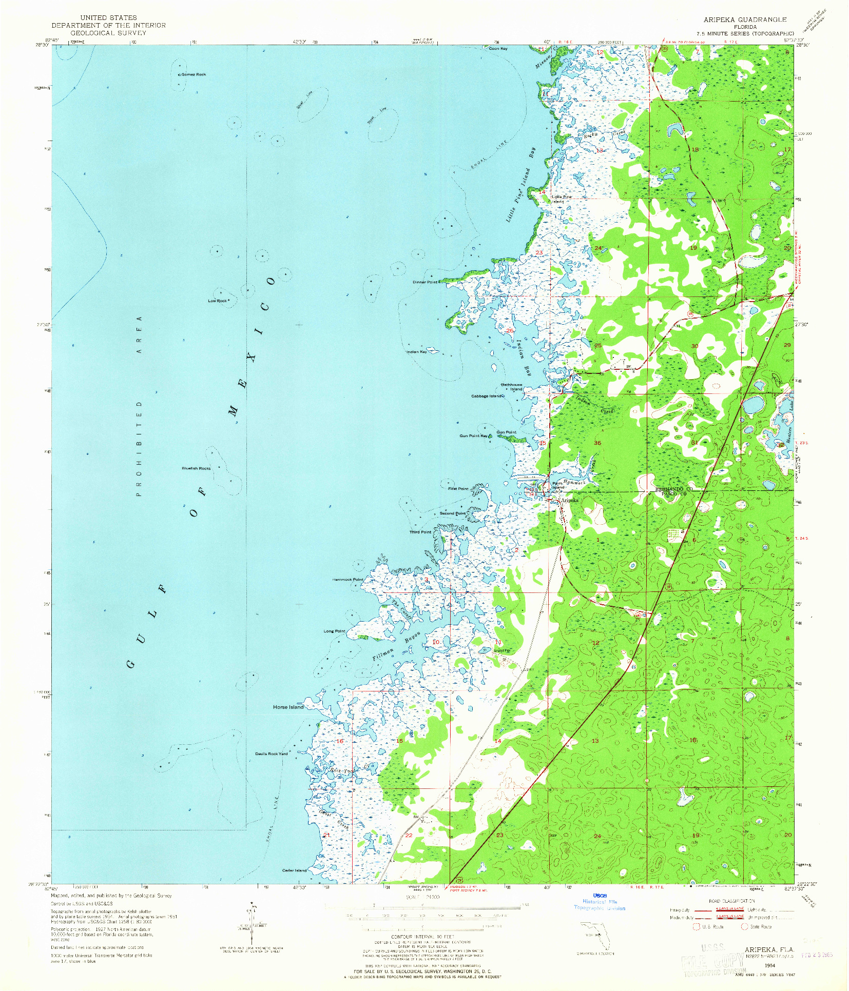 USGS 1:24000-SCALE QUADRANGLE FOR ARIPEKA, FL 1954