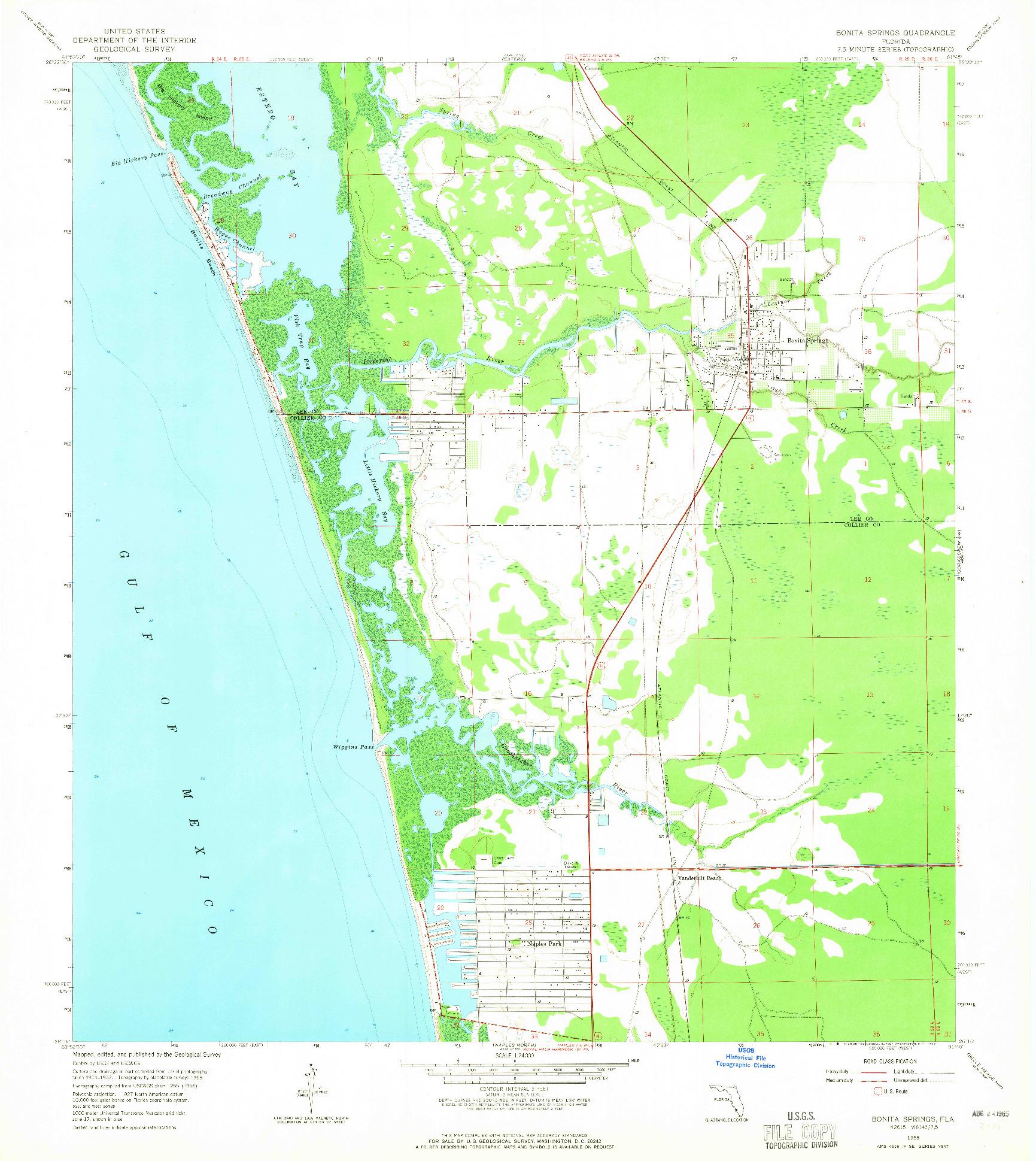 USGS 1:24000-SCALE QUADRANGLE FOR BONITA SPRINGS, FL 1958