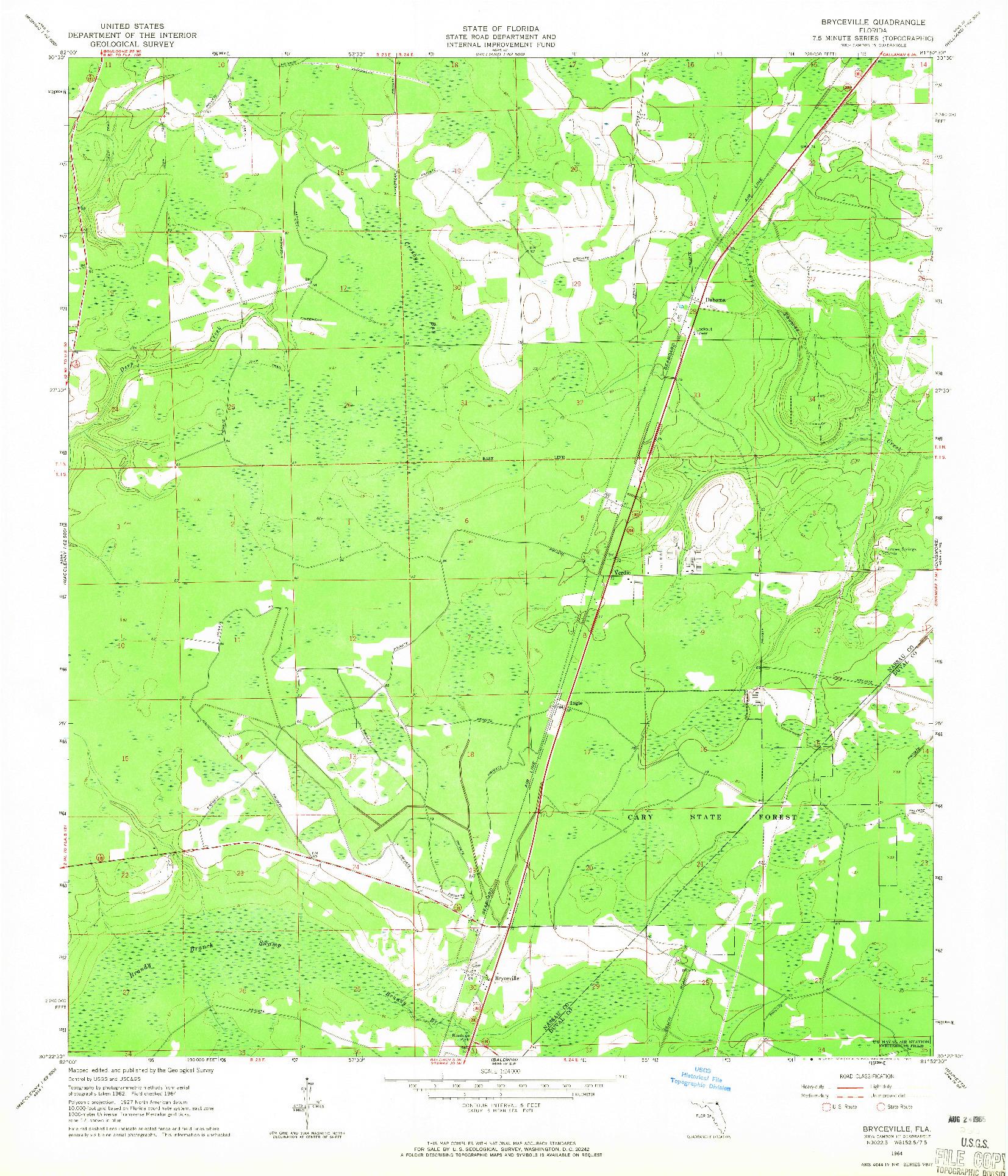 USGS 1:24000-SCALE QUADRANGLE FOR BRYCEVILLE, FL 1964