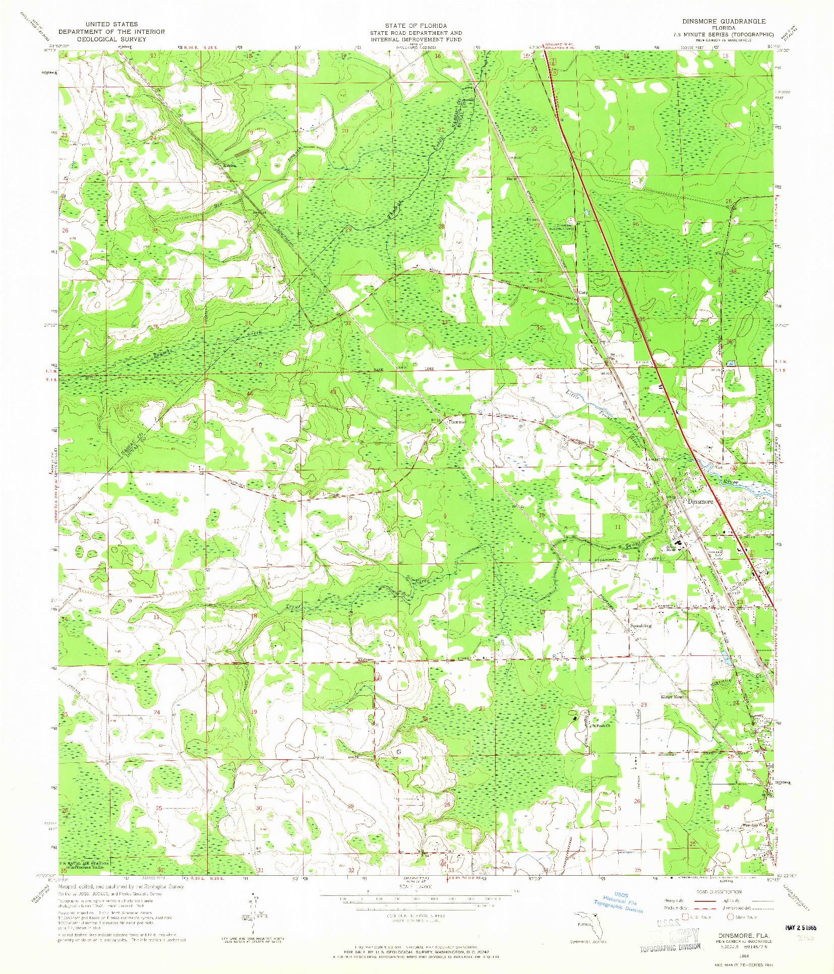 USGS 1:24000-SCALE QUADRANGLE FOR DINSMORE, FL 1964