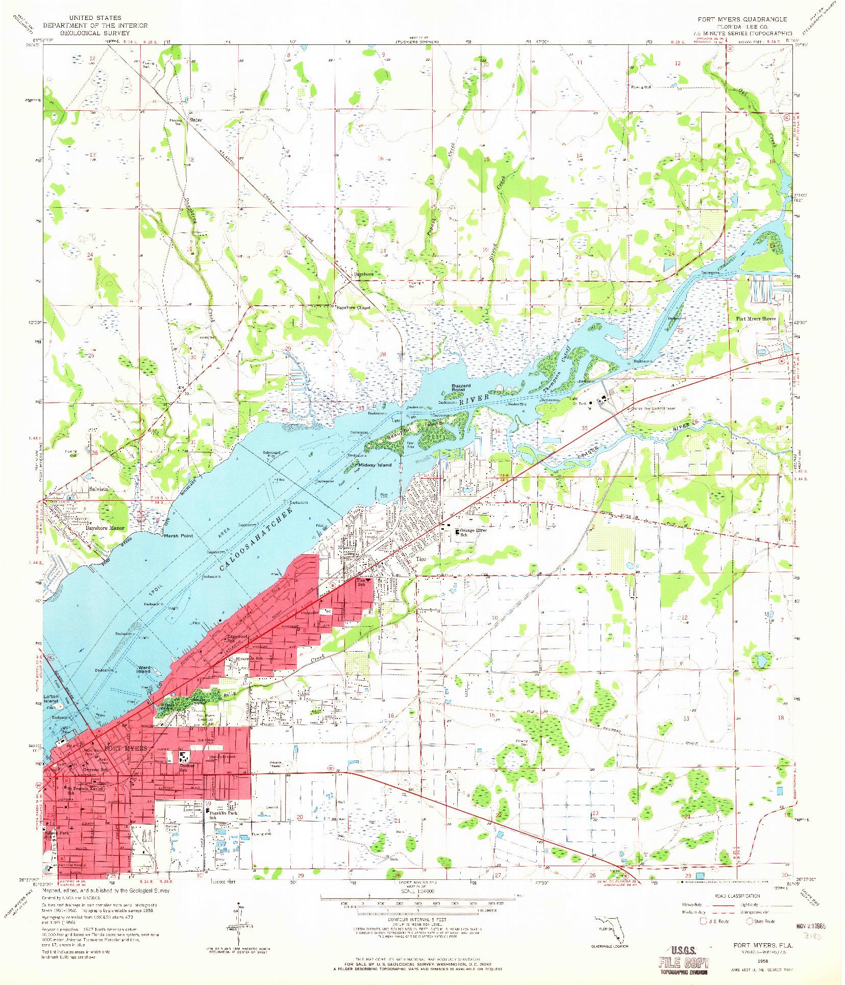 USGS 1:24000-SCALE QUADRANGLE FOR FORT MYERS, FL 1958