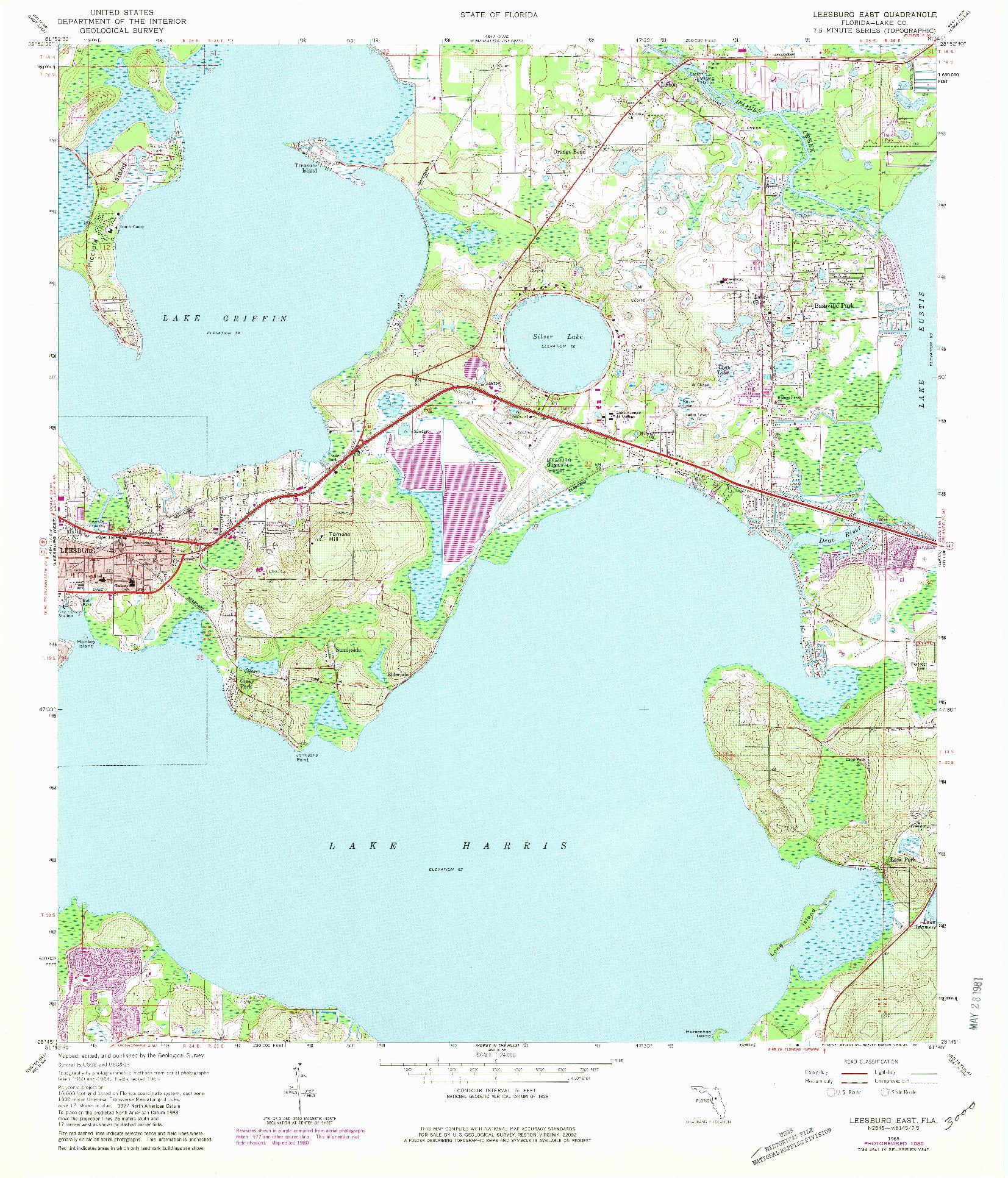 USGS 1:24000-SCALE QUADRANGLE FOR LEESBURG EAST, FL 1965