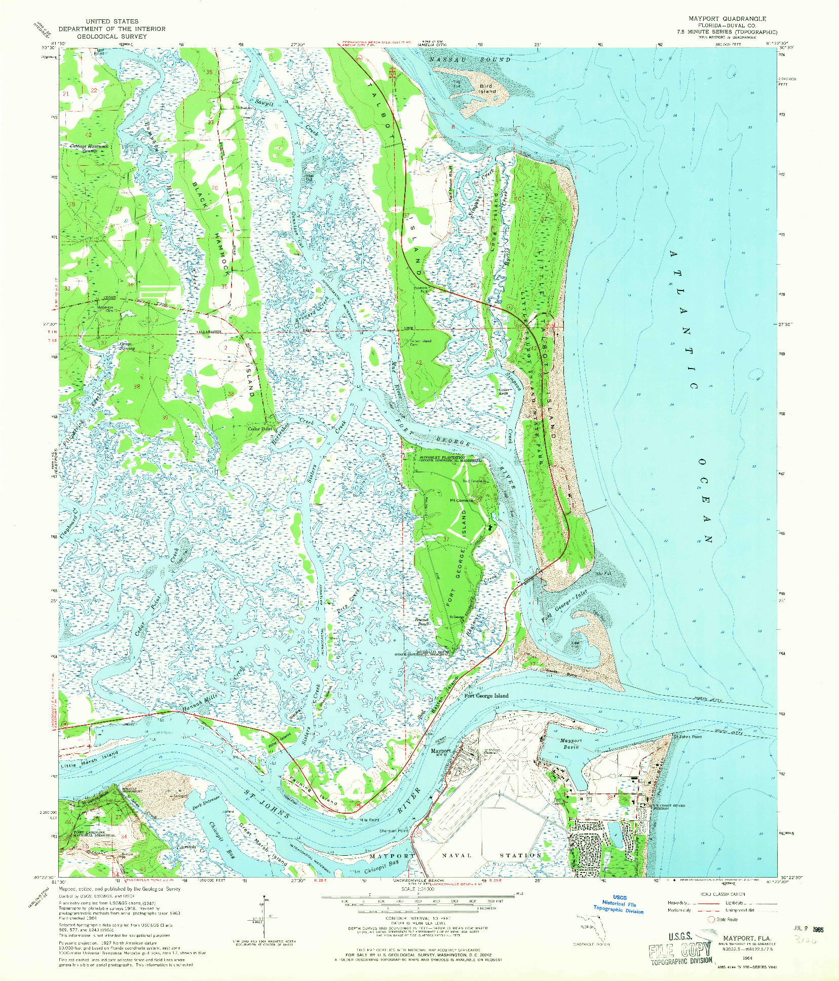 USGS 1:24000-SCALE QUADRANGLE FOR MAYPORT, FL 1964