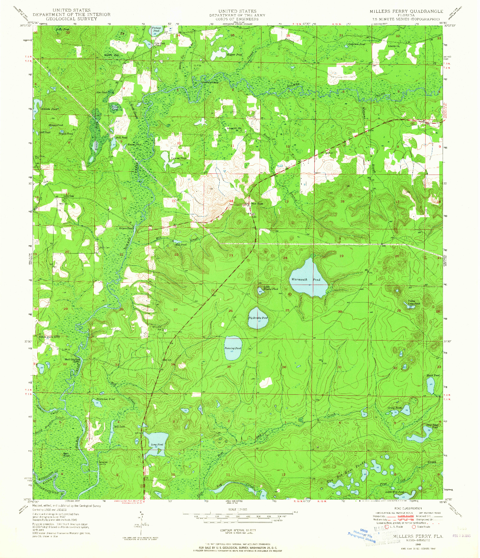 USGS 1:24000-SCALE QUADRANGLE FOR MILLERS FERRY, FL 1949