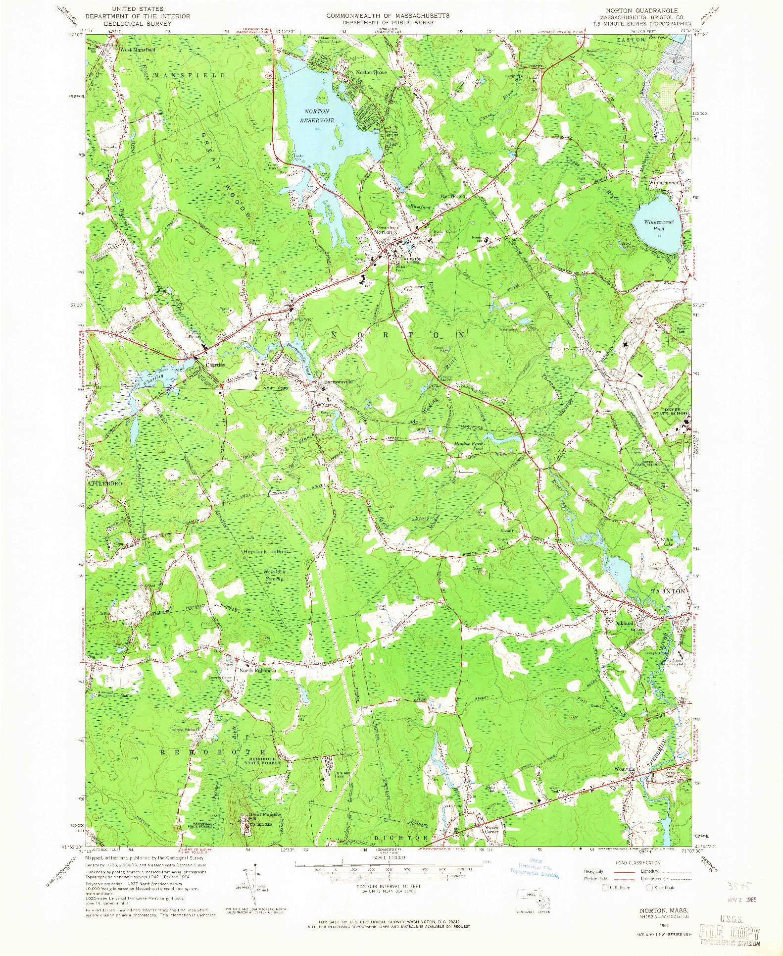 USGS 1:24000-SCALE QUADRANGLE FOR NORTON, MA 1964