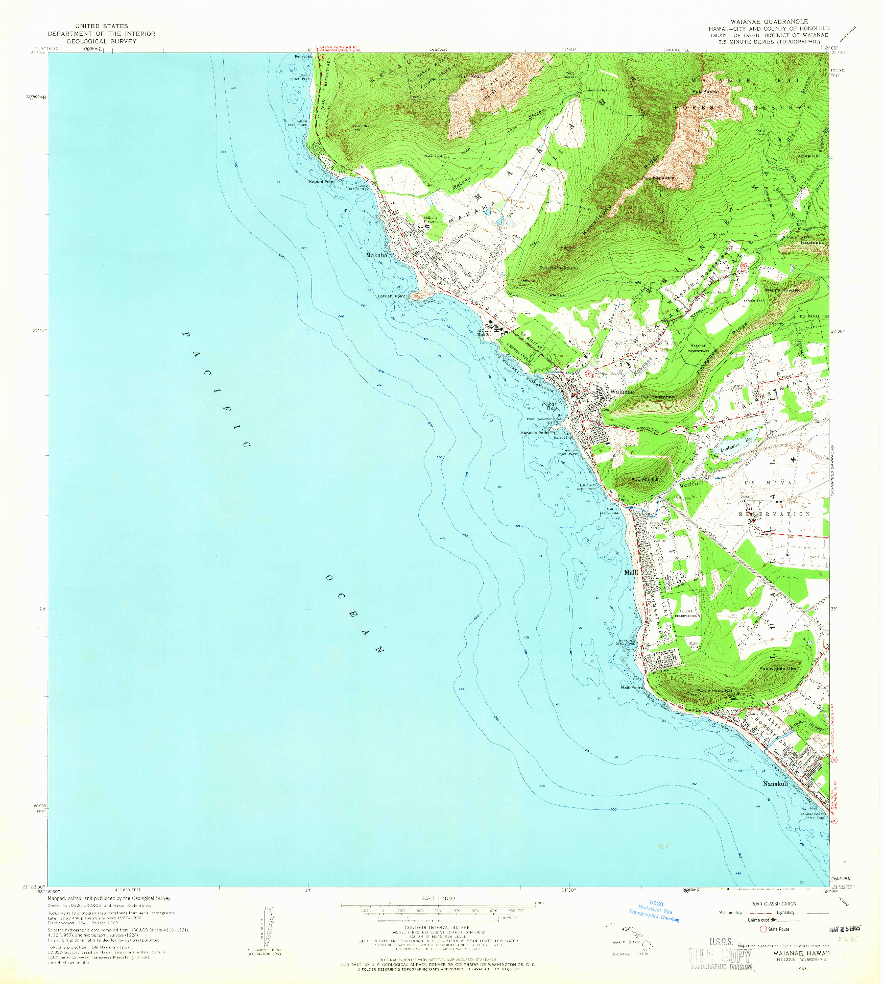 USGS 1:24000-SCALE QUADRANGLE FOR WAIANAE, HI 1963