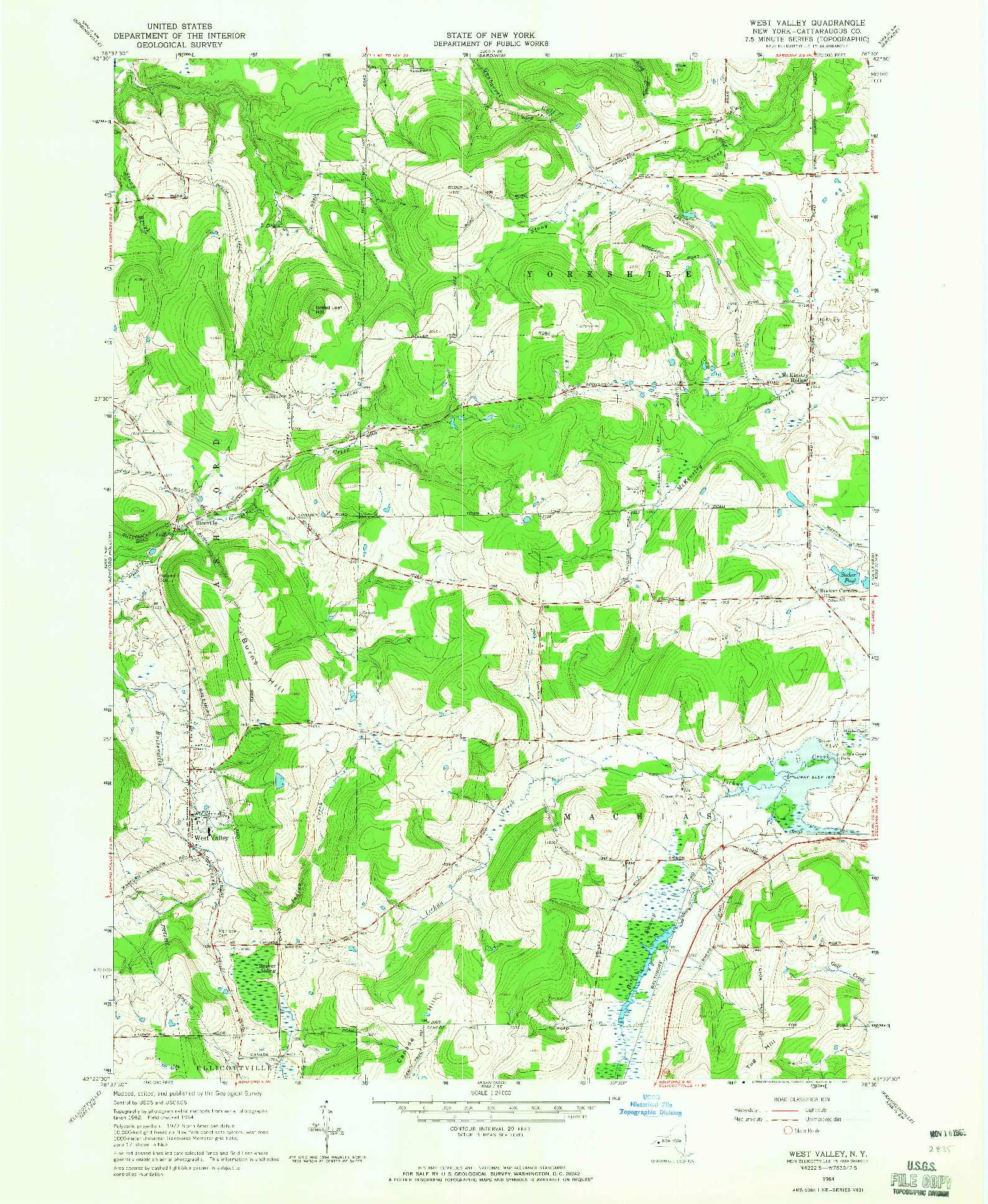 USGS 1:24000-SCALE QUADRANGLE FOR WEST VALLEY, NY 1964