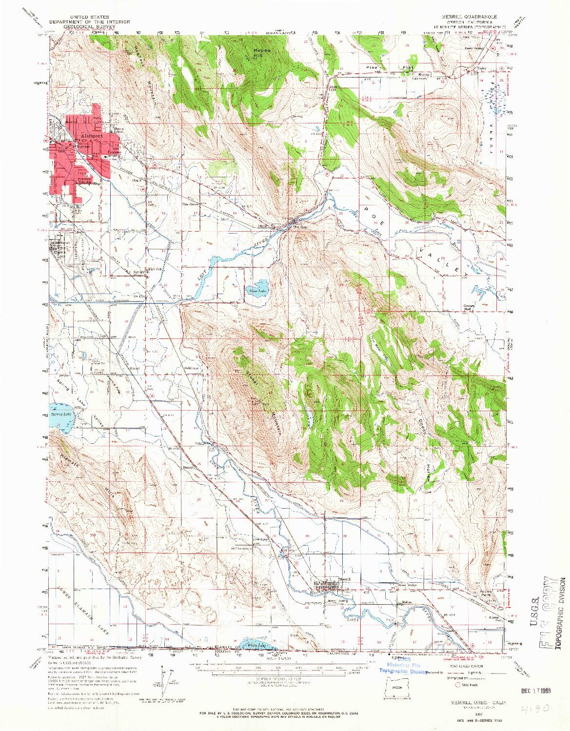 USGS 1:62500-SCALE QUADRANGLE FOR MERRILL, OR 1957