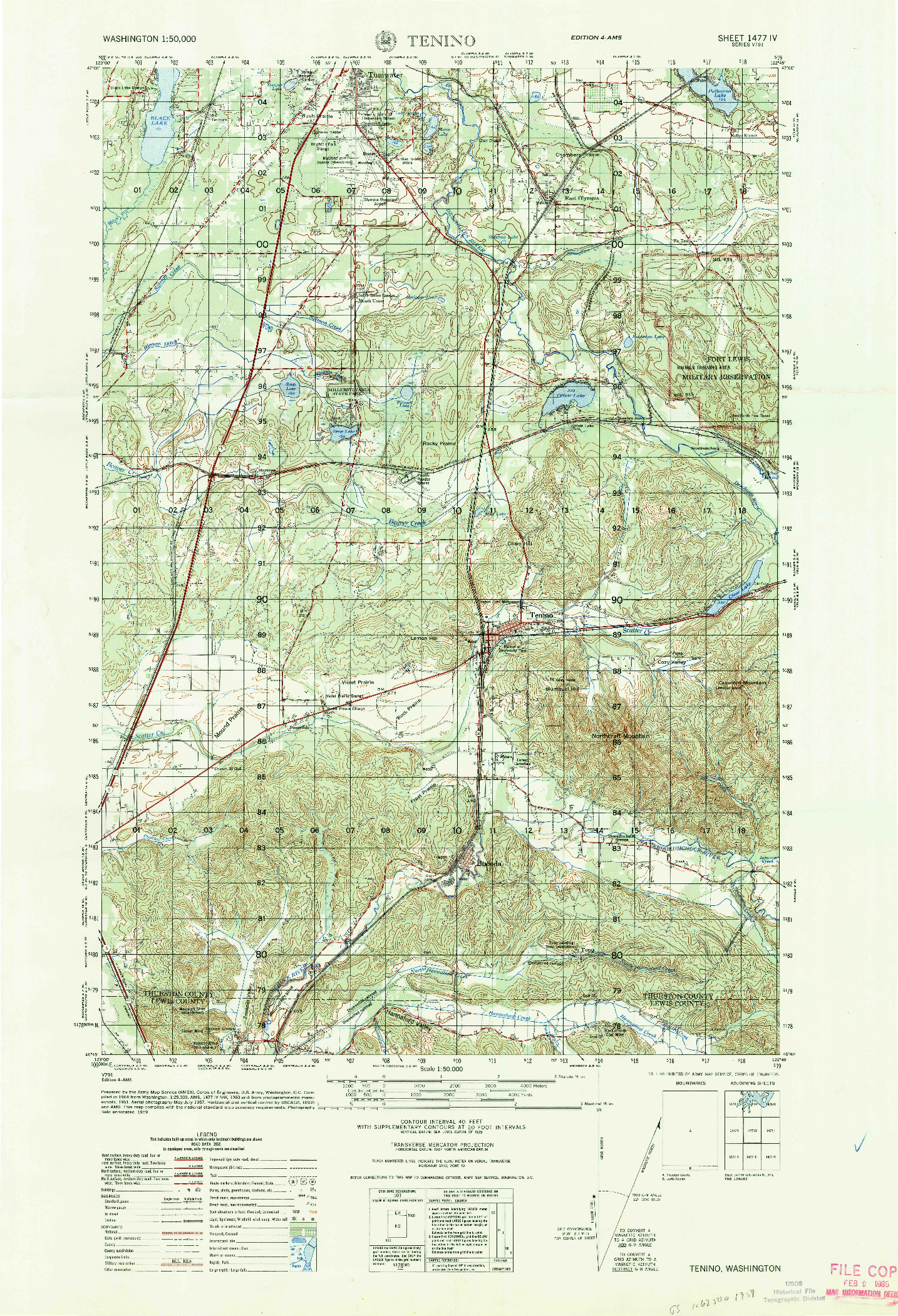 Usgs 150000 Scale Quadrangle For Tenino Wa 1964 - Us-army-topographic-maps