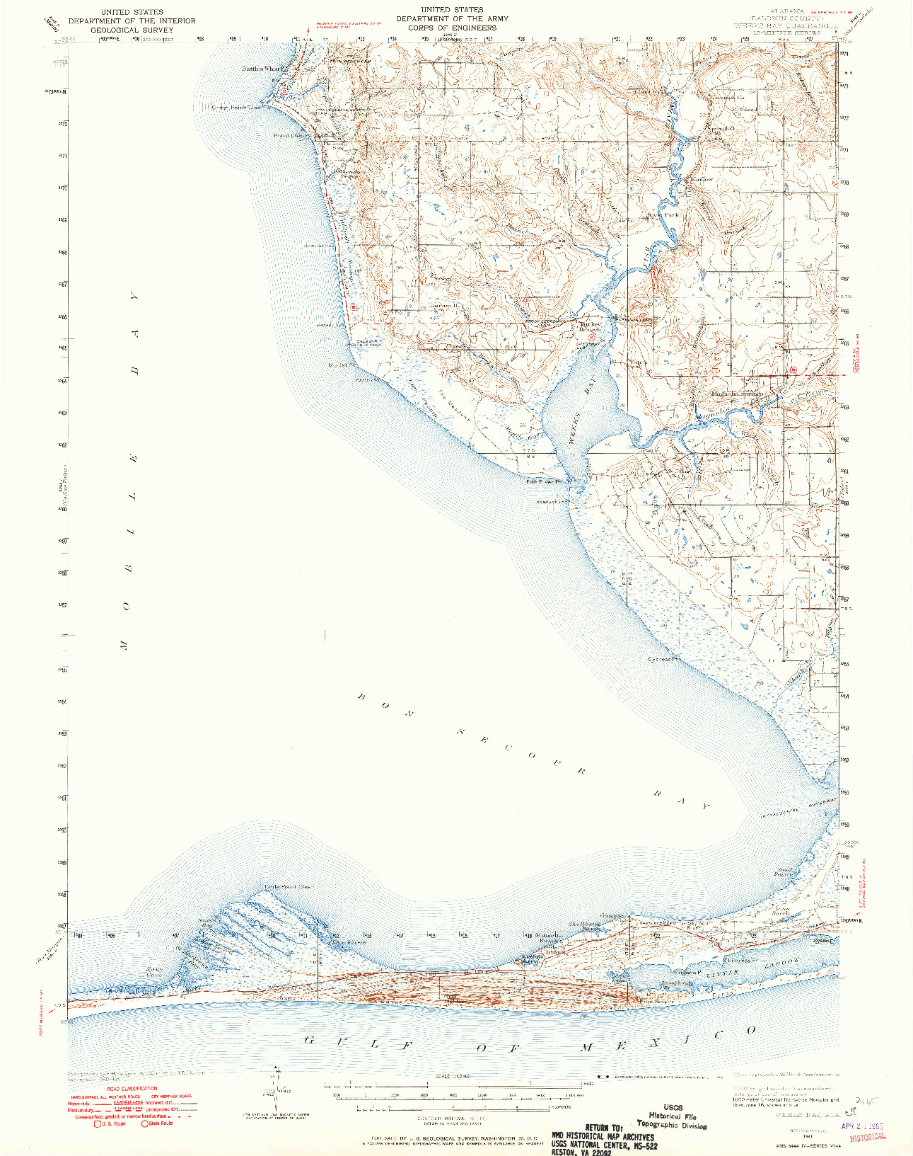 USGS 1:62500-SCALE QUADRANGLE FOR WEEKS BAY, AL 1941
