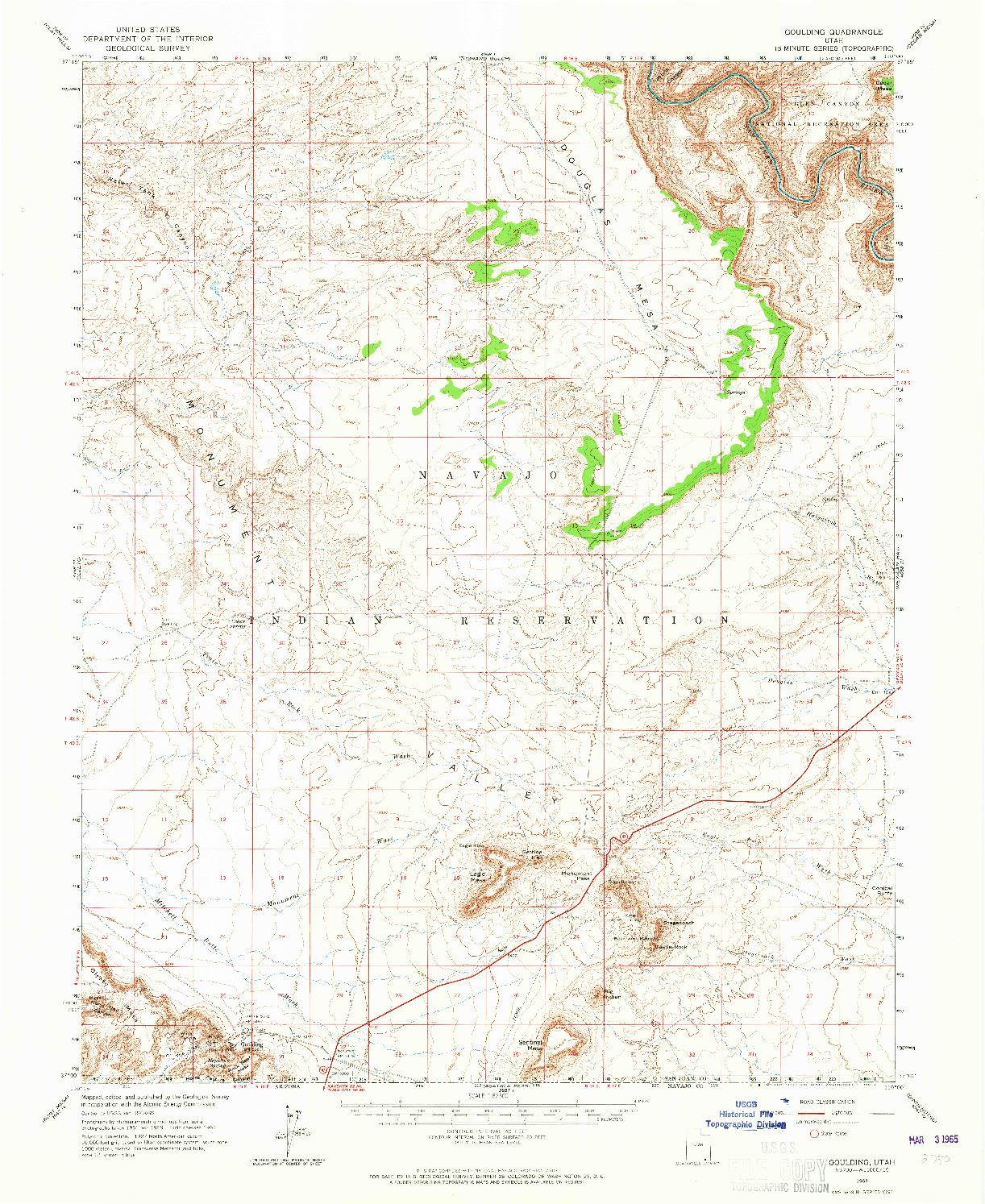 USGS 1:62500-SCALE QUADRANGLE FOR GOULDING, UT 1963