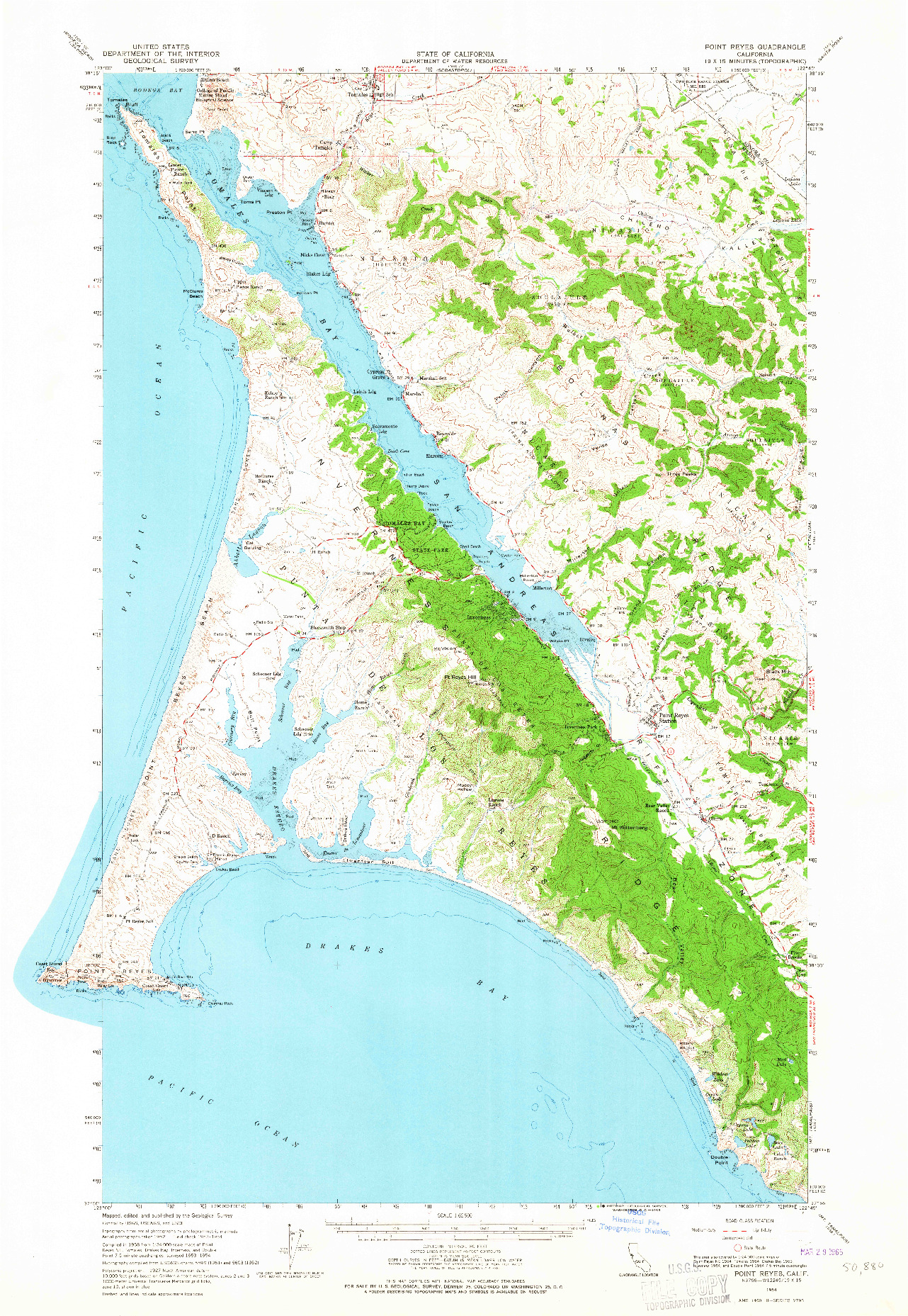 USGS 1:62500-SCALE QUADRANGLE FOR POINT REYES, CA 1954