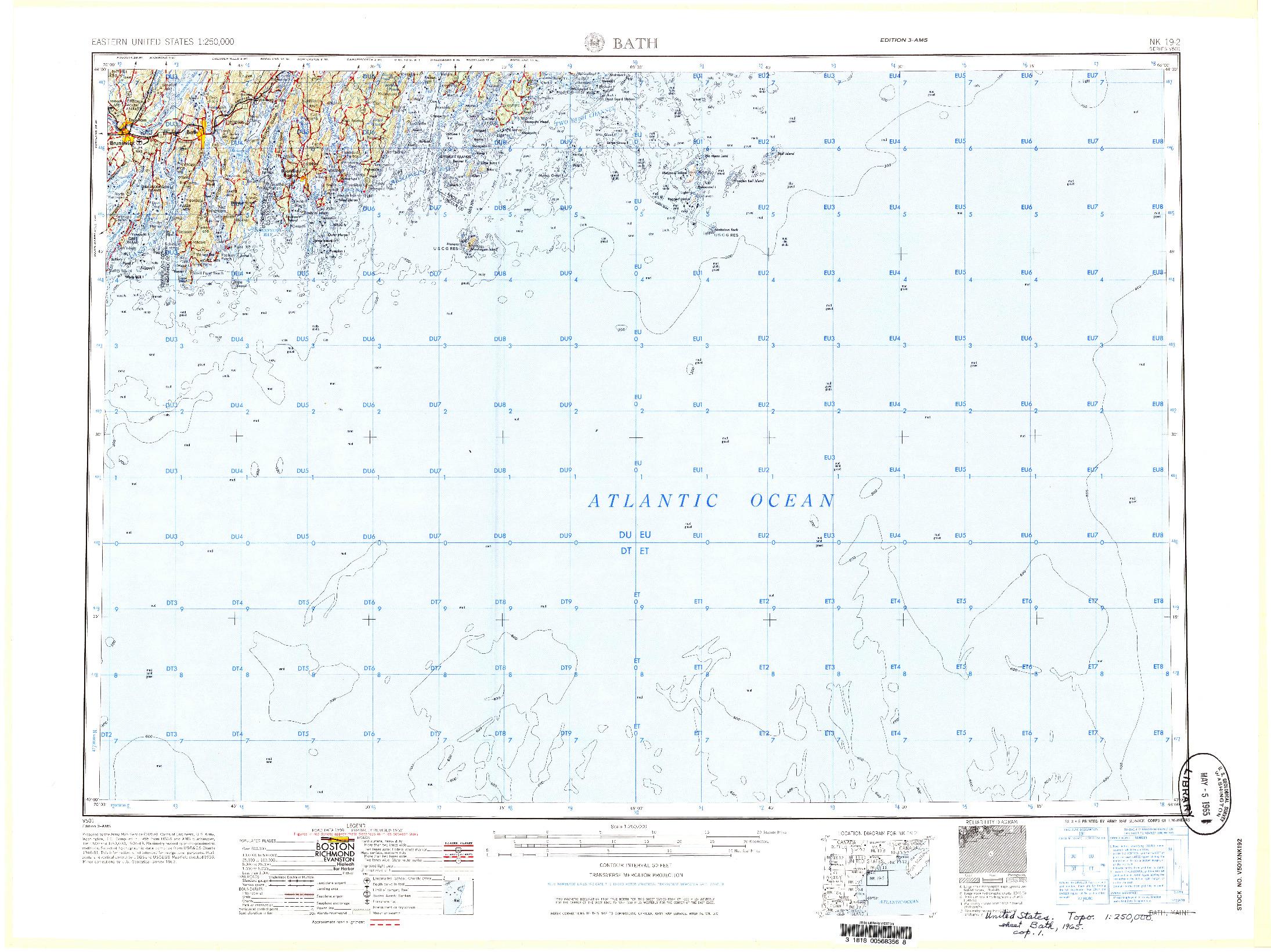 USGS 1:250000-SCALE QUADRANGLE FOR BATH, ME 1965