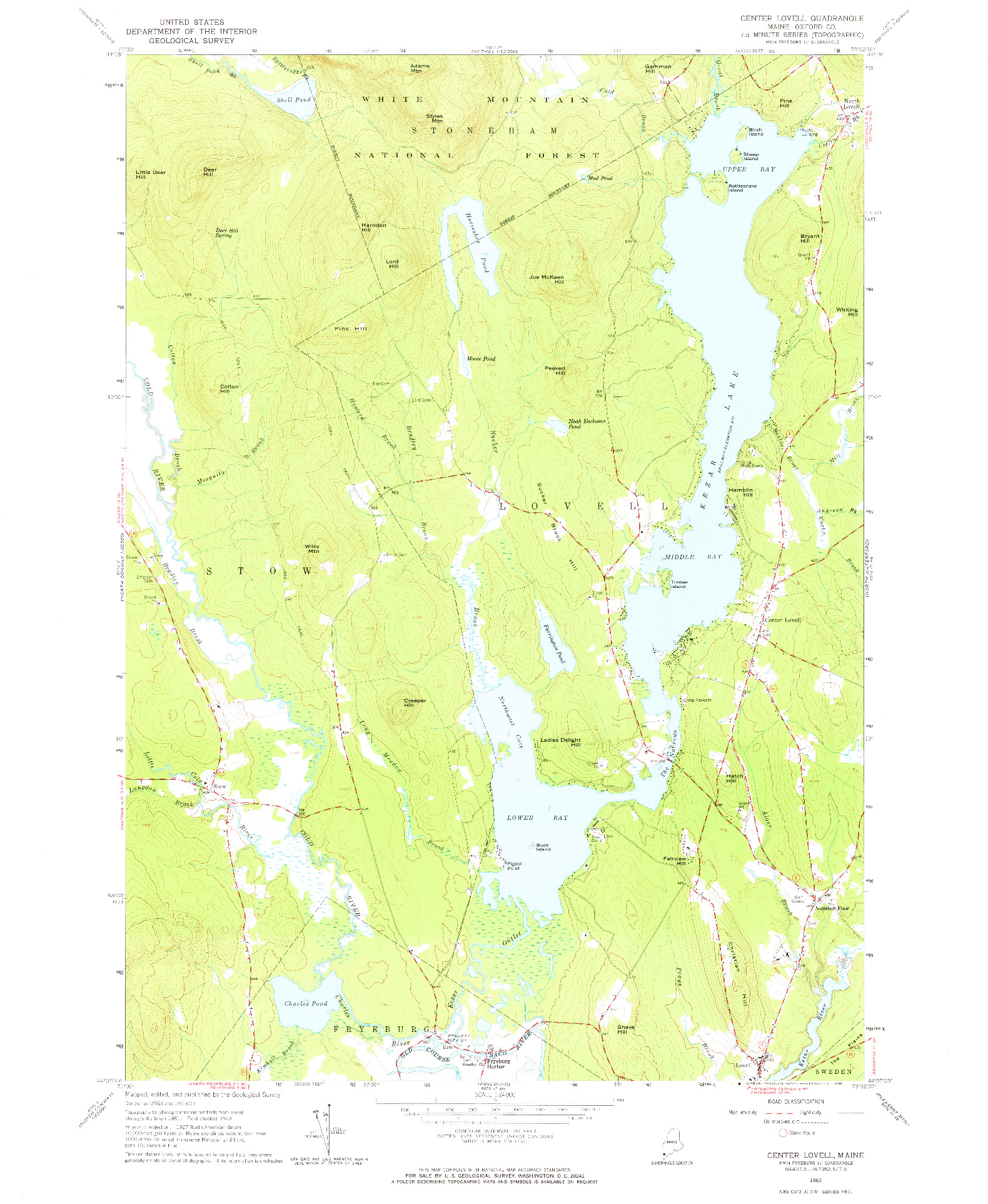USGS 1:24000-SCALE QUADRANGLE FOR CENTER LOVELL, ME 1963